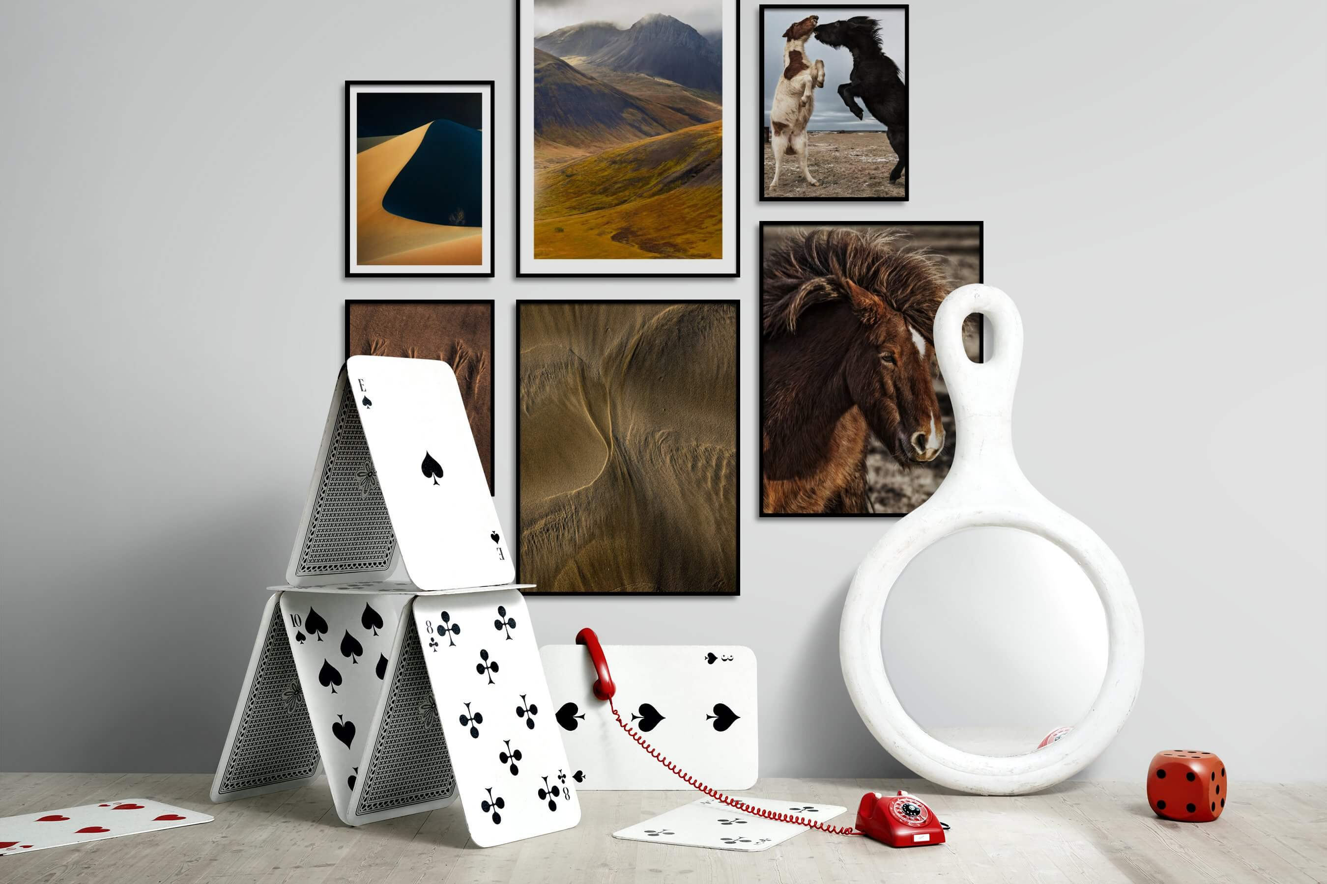 Gallery wall idea with six framed pictures arranged on a wall depicting For the Minimalist, Nature, For the Moderate, Animals, and Country Life