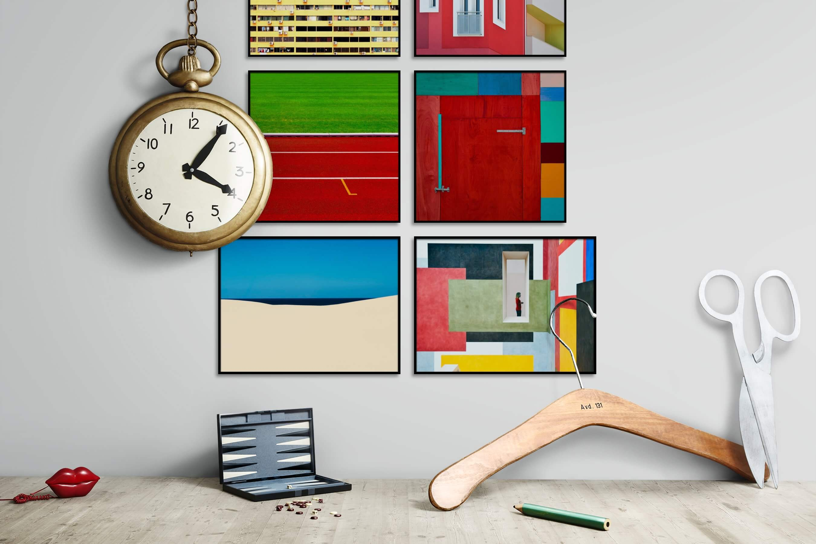 Gallery wall idea with six framed pictures arranged on a wall depicting Colorful, For the Moderate, City Life, For the Minimalist, Nature, and For the Maximalist
