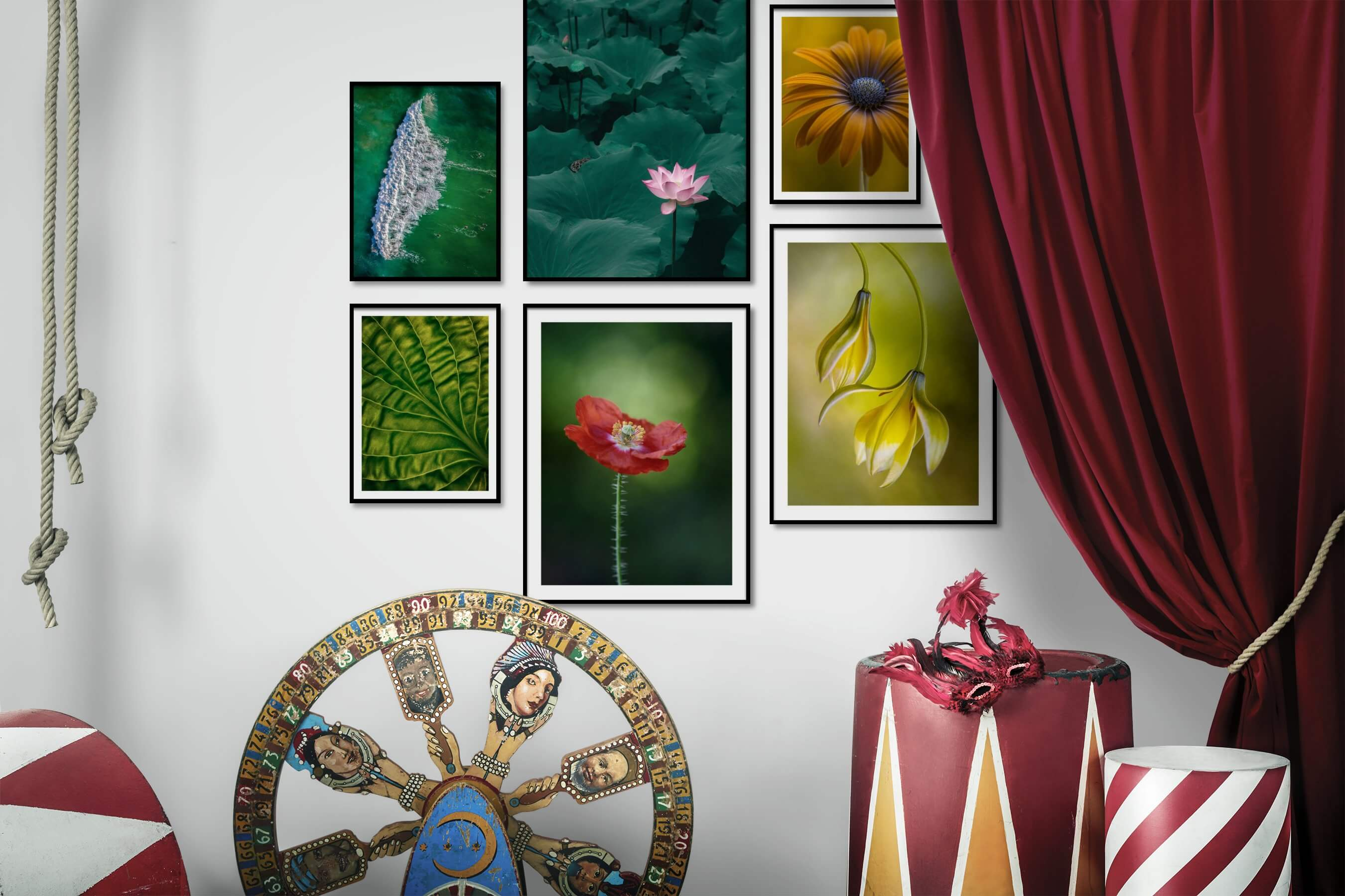 Gallery wall idea with six framed pictures arranged on a wall depicting For the Minimalist, Beach & Water, For the Moderate, and Flowers & Plants