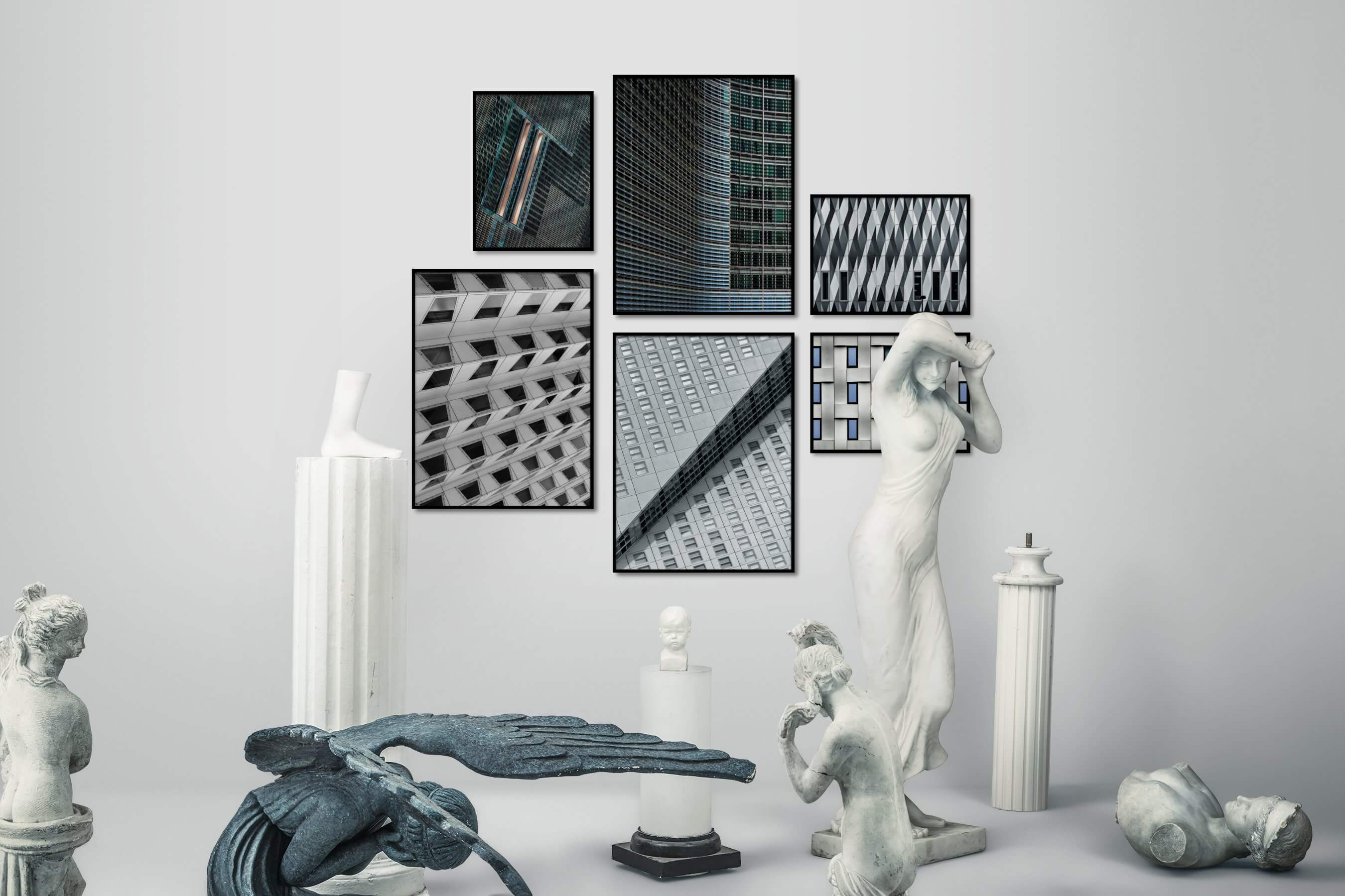 Gallery wall idea with six framed pictures arranged on a wall depicting For the Maximalist, Black & White, For the Moderate, and City Life