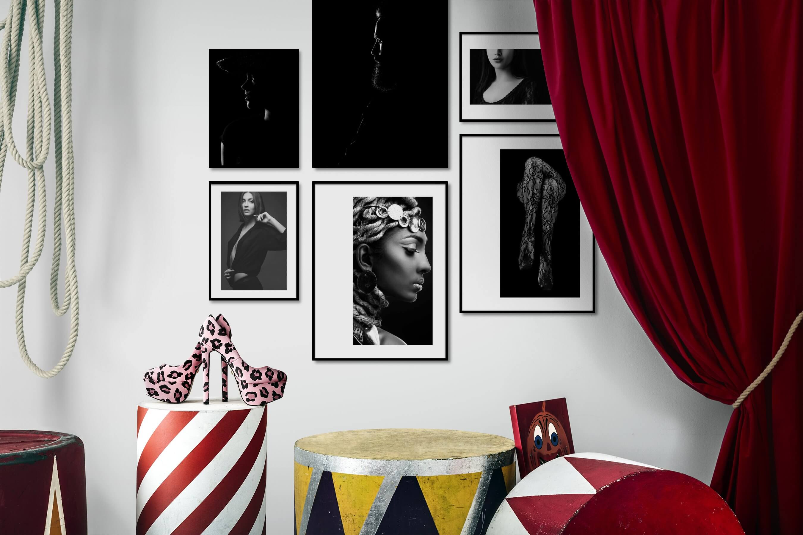 Gallery wall idea with six framed pictures arranged on a wall depicting Fashion & Beauty, Black & White, Dark Tones, For the Minimalist, and For the Moderate