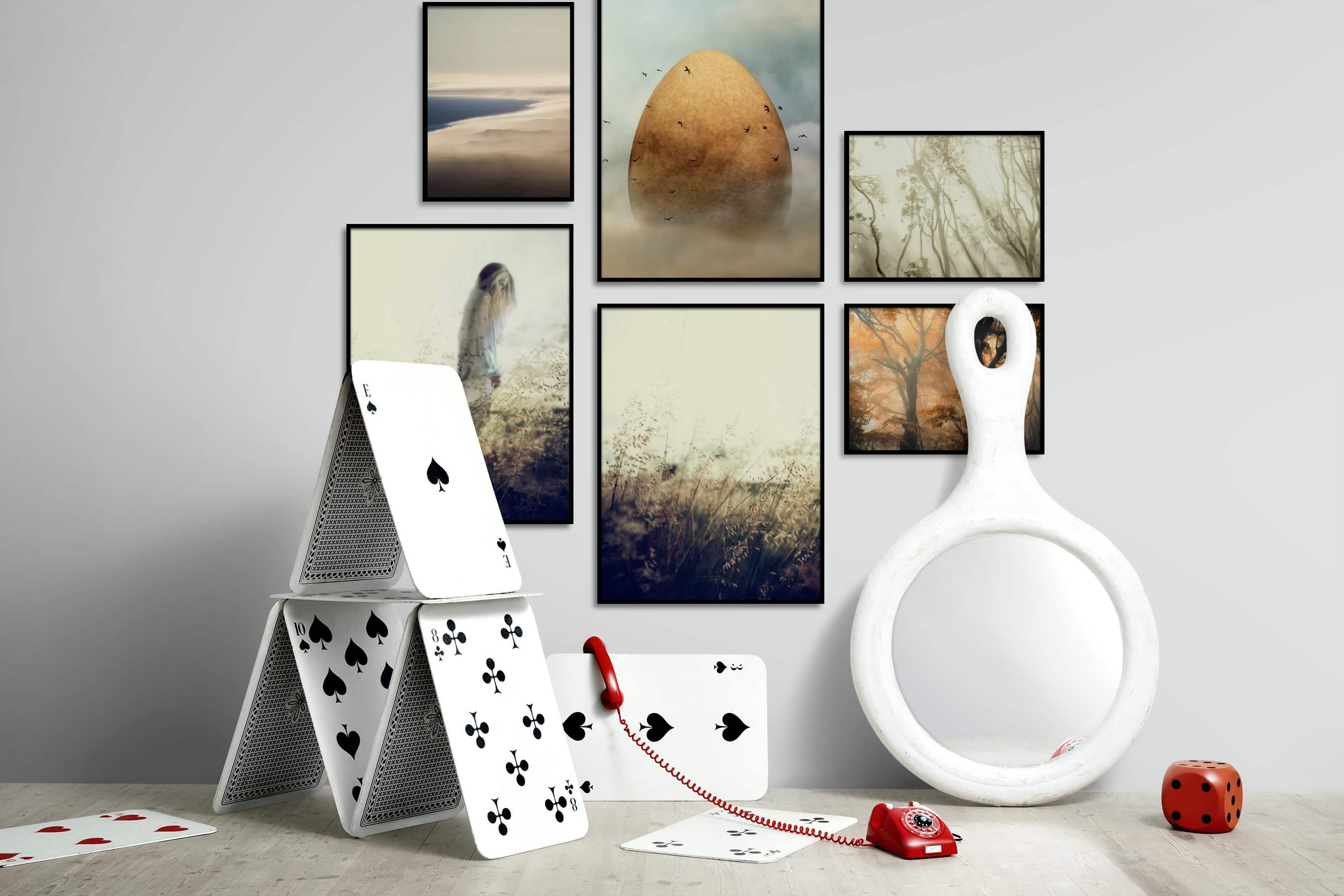 Gallery wall idea with six framed pictures arranged on a wall depicting For the Minimalist, Nature, Artsy, For the Moderate, and Flowers & Plants