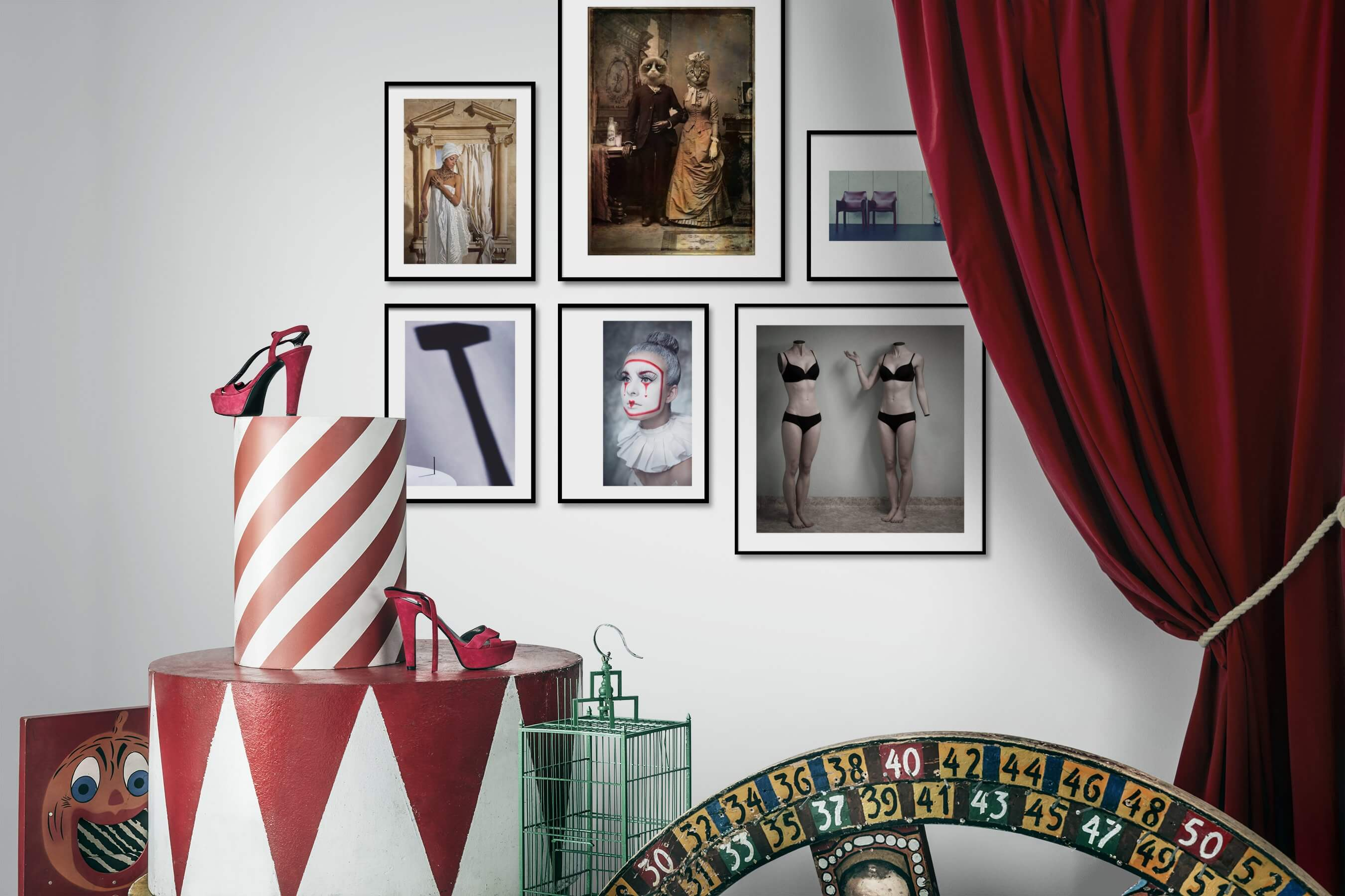 Gallery wall idea with six framed pictures arranged on a wall depicting Fashion & Beauty, Vintage, Artsy, Animals, For the Minimalist, and For the Moderate