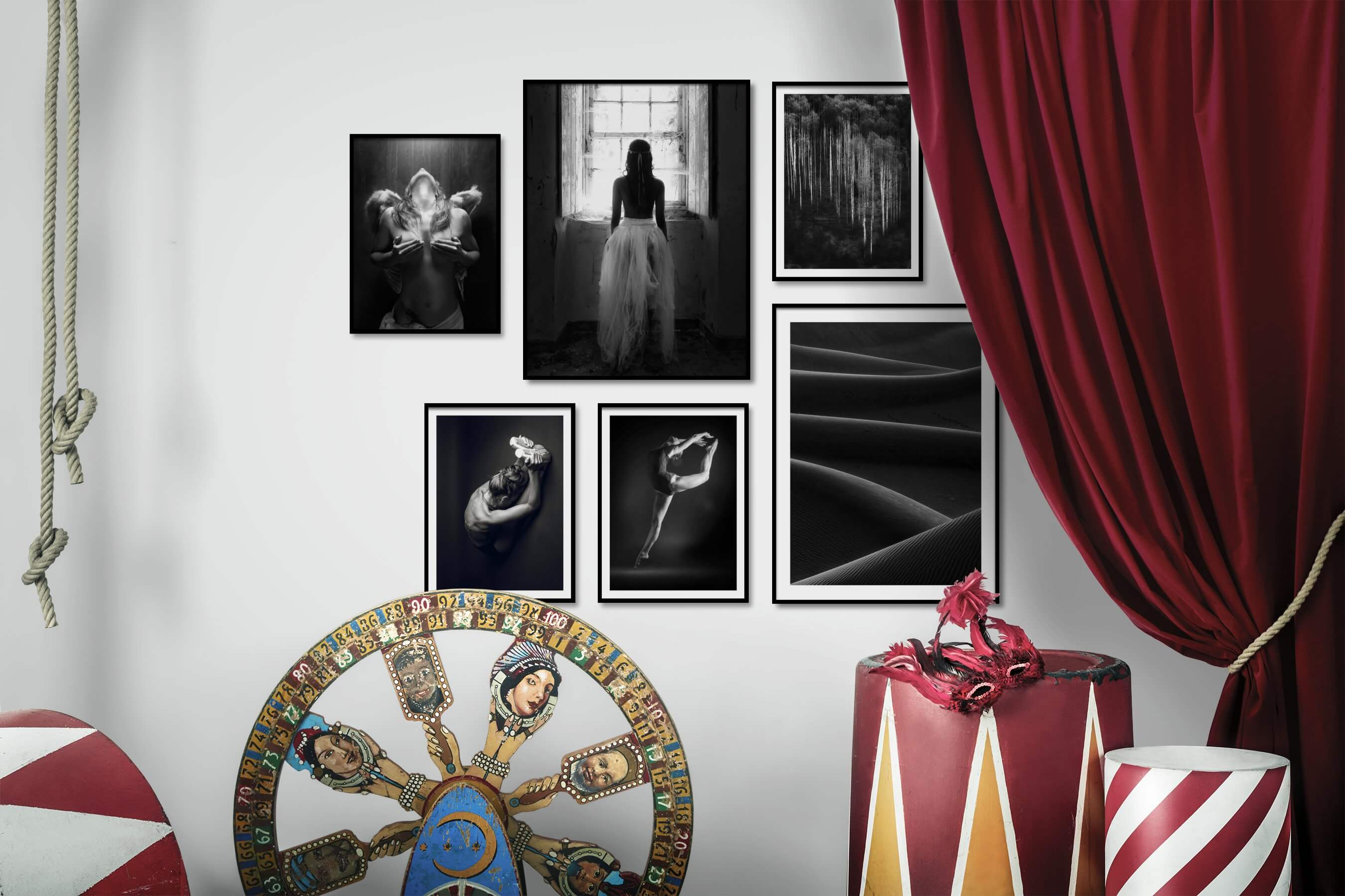 Gallery wall idea with six framed pictures arranged on a wall depicting Fashion & Beauty, Black & White, Dark Tones, For the Minimalist, For the Moderate, and Nature