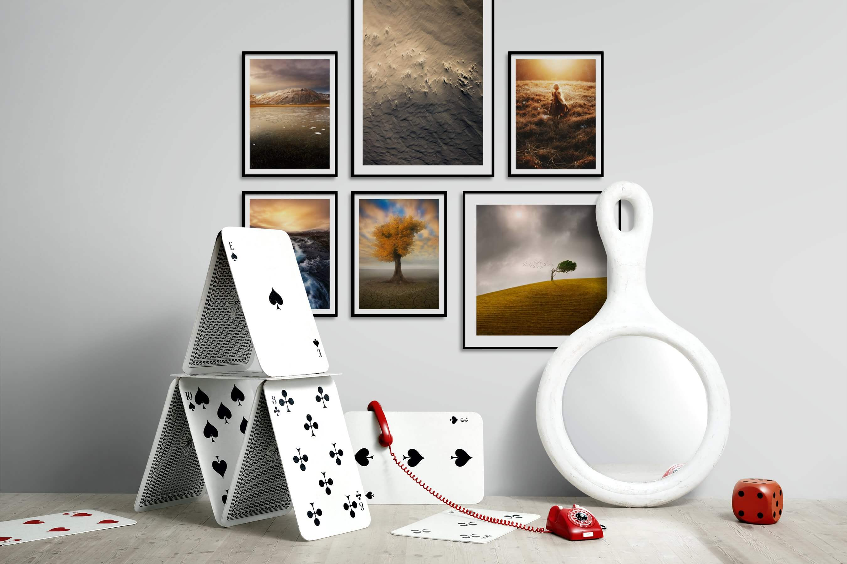 Gallery wall idea with six framed pictures arranged on a wall depicting Nature, For the Minimalist, Country Life, and Mindfulness