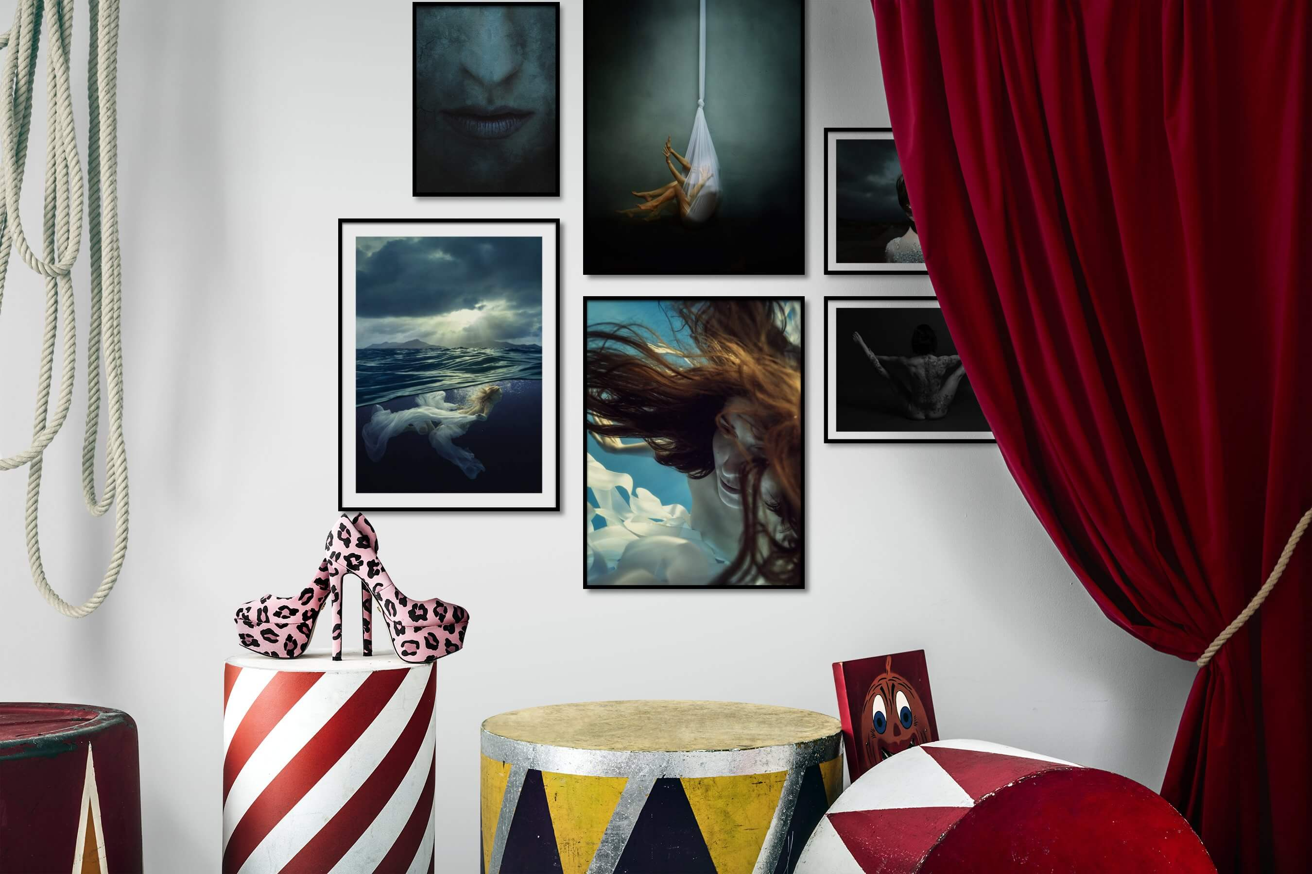 Gallery wall idea with six framed pictures arranged on a wall depicting Fashion & Beauty, Dark Tones, Artsy, Beach & Water, Black & White, and For the Minimalist