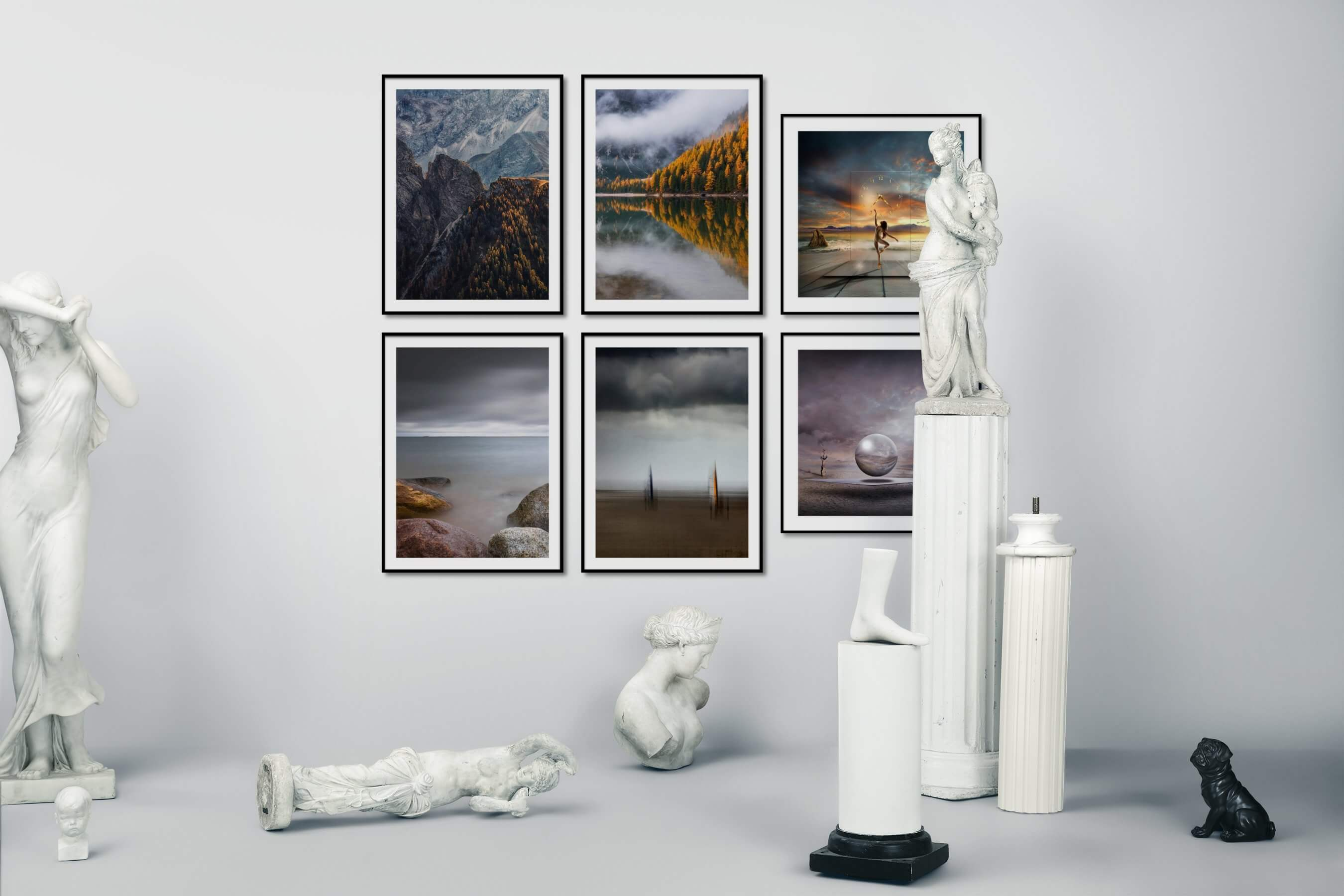 Gallery wall idea with six framed pictures arranged on a wall depicting Nature, Beach & Water, Mindfulness, and Artsy