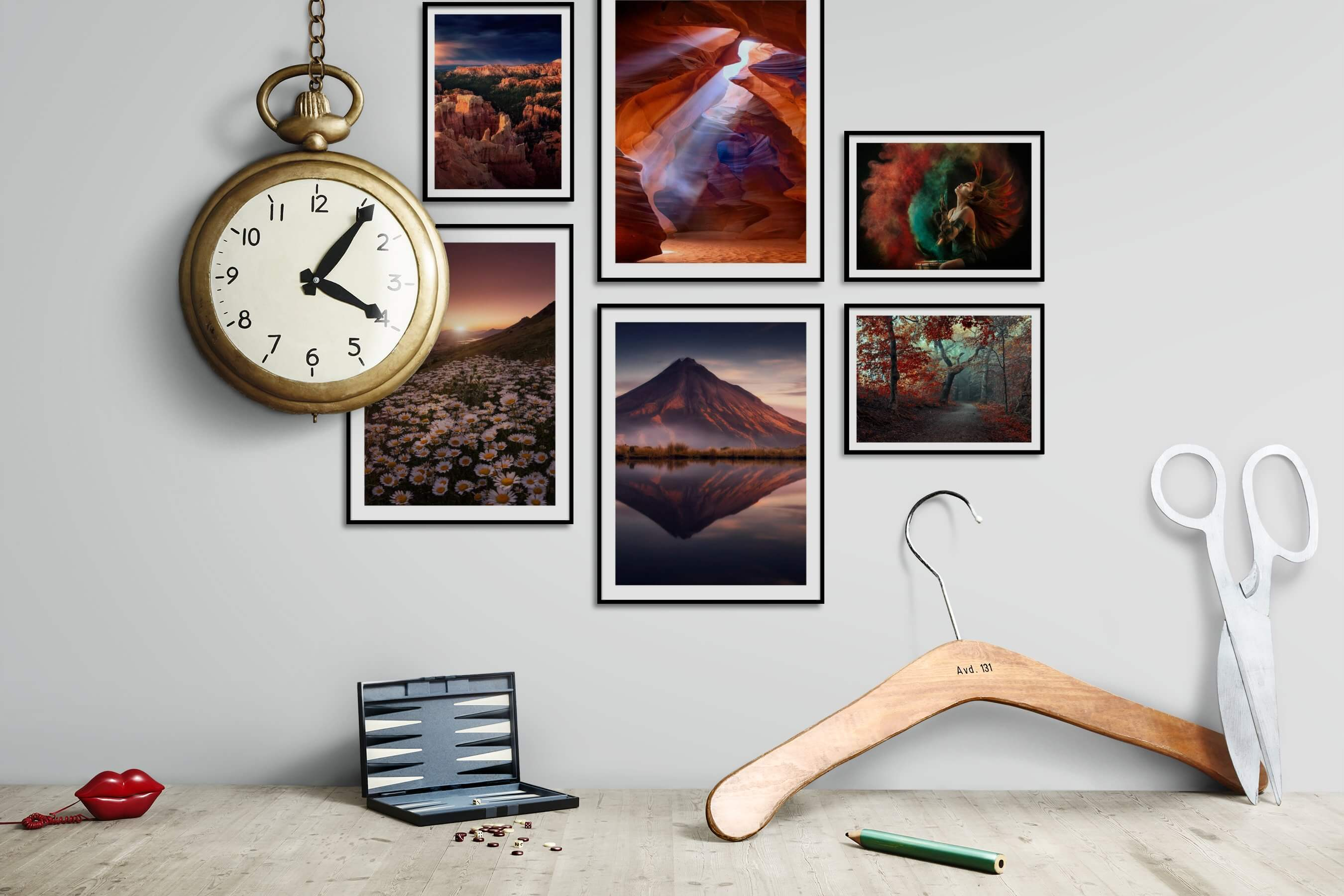 Gallery wall idea with six framed pictures arranged on a wall depicting Nature, Americana, Flowers & Plants, Mindfulness, and Fashion & Beauty