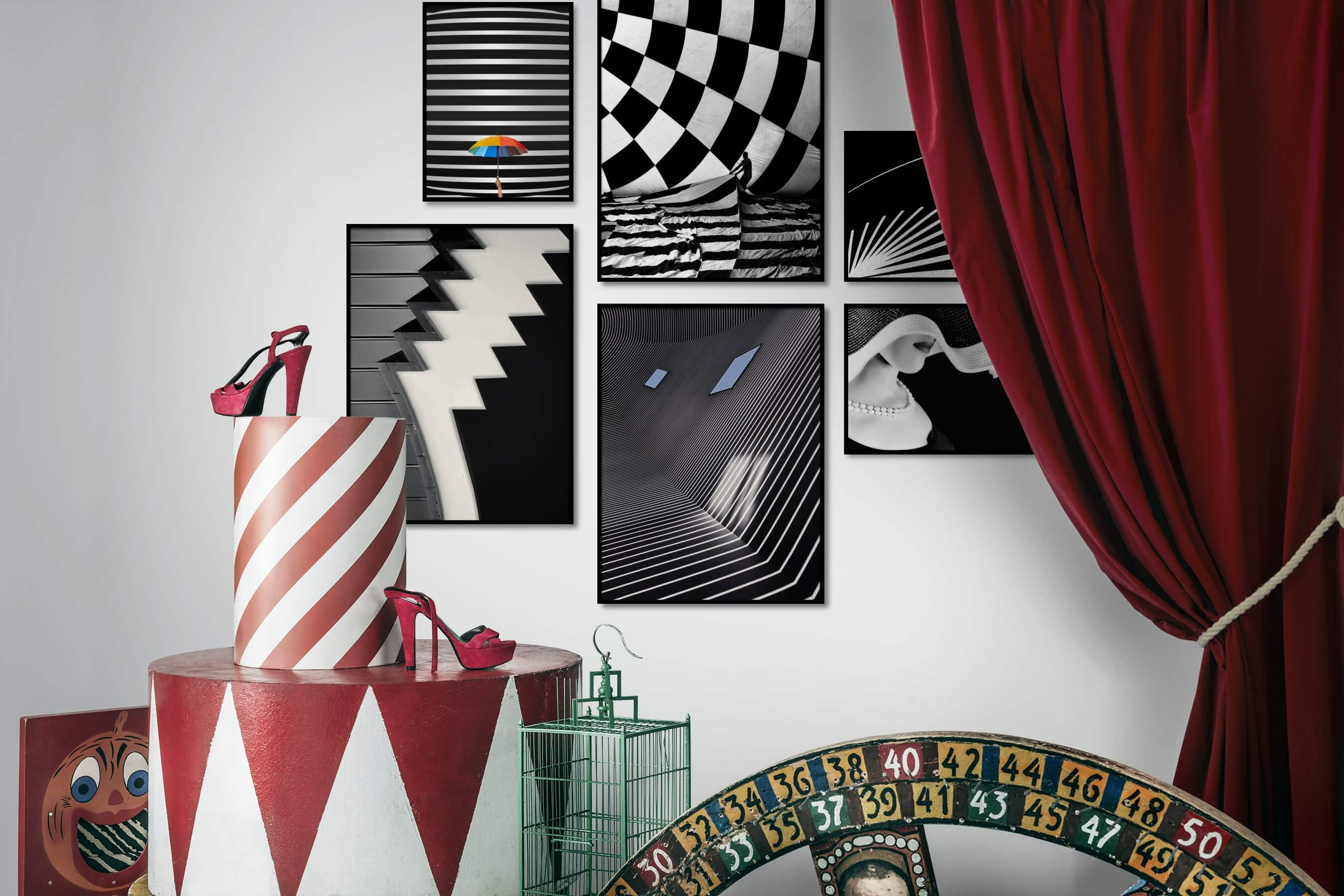 Gallery wall idea with six framed pictures arranged on a wall depicting For the Maximalist, Black & White, For the Moderate, For the Minimalist, Fashion & Beauty, and Vintage