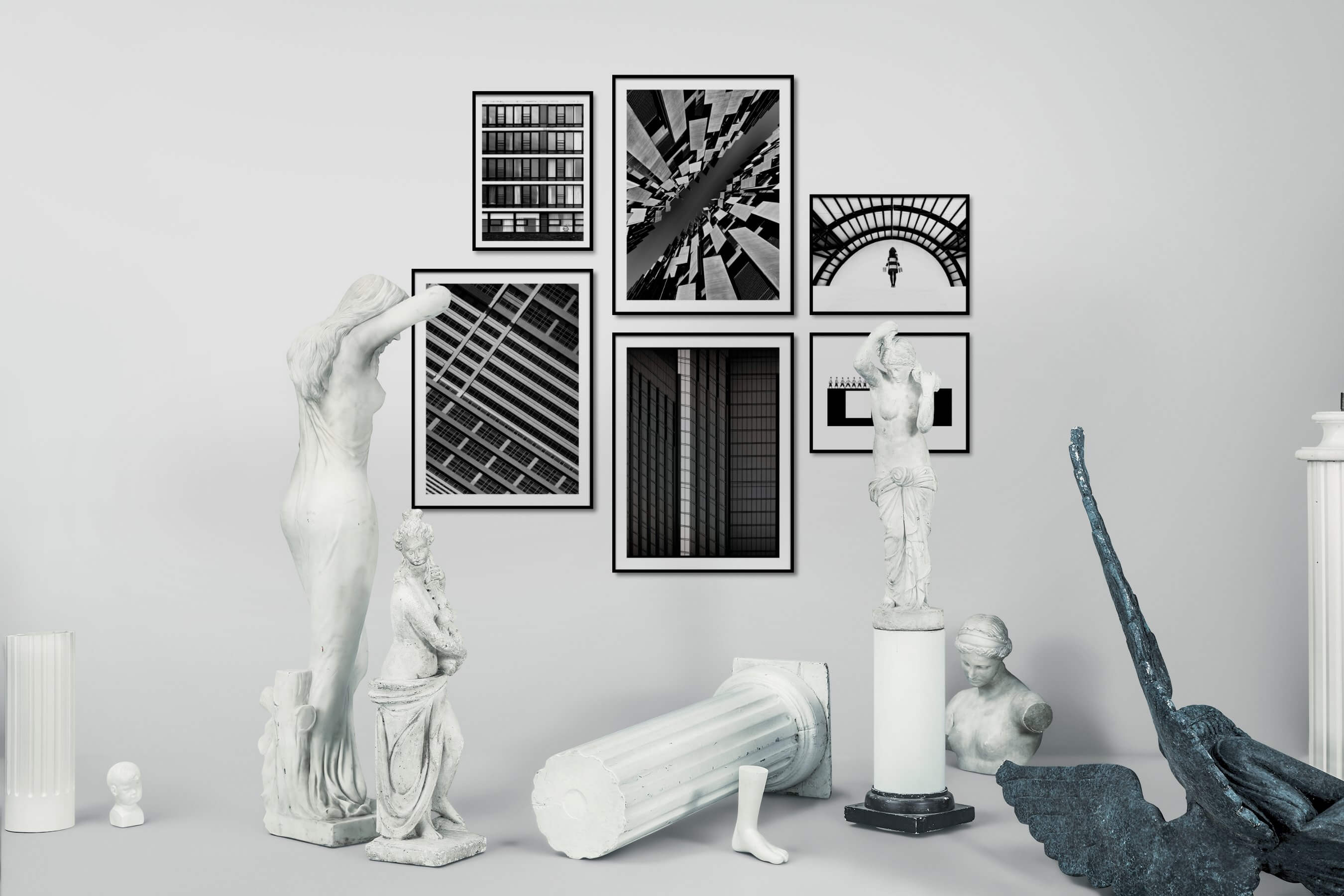 Gallery wall idea with six framed pictures arranged on a wall depicting Black & White, For the Moderate, City Life, For the Maximalist, Artsy, and For the Minimalist