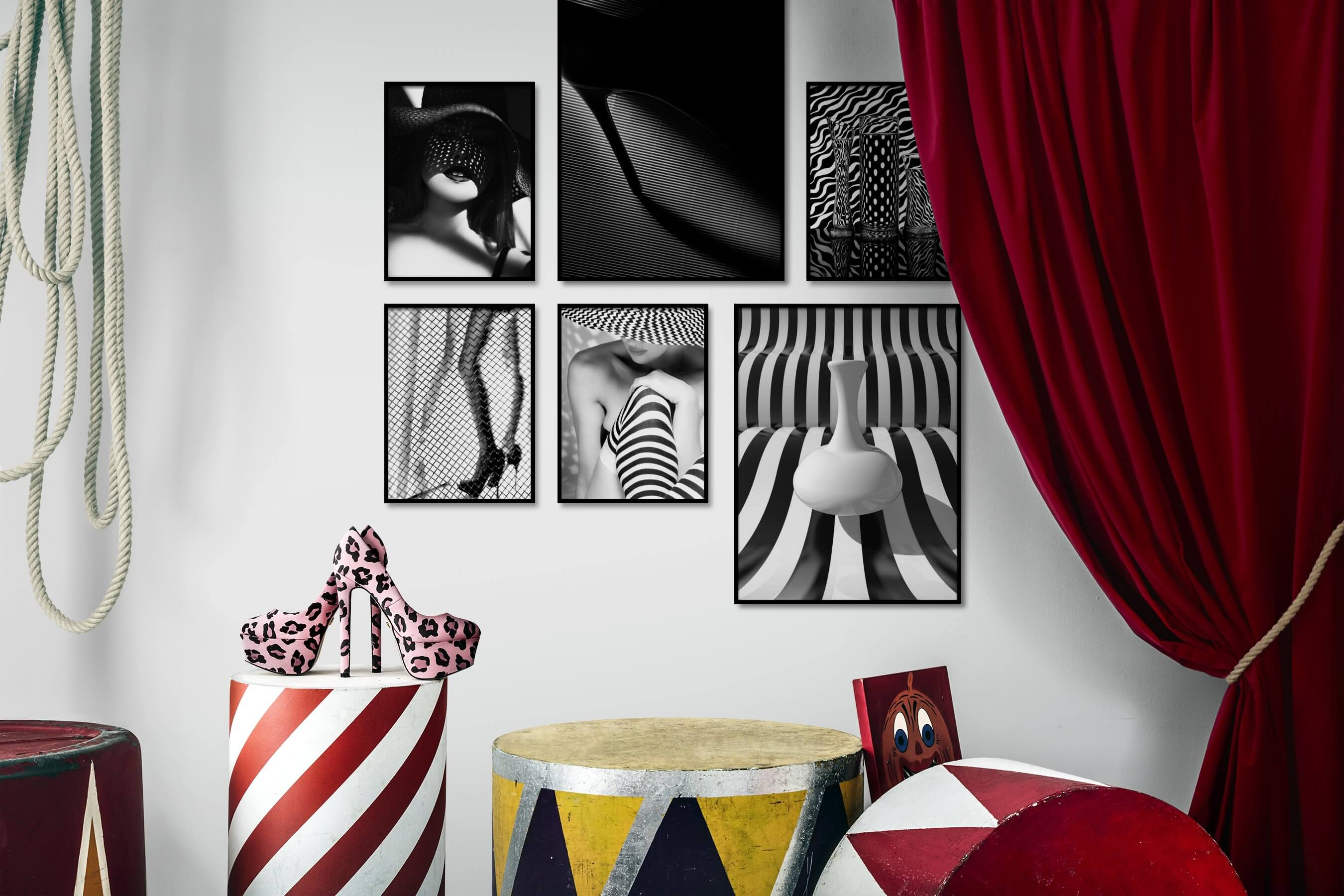 Gallery wall idea with six framed pictures arranged on a wall depicting Fashion & Beauty, Black & White, For the Moderate, Vintage, Dark Tones, and For the Maximalist