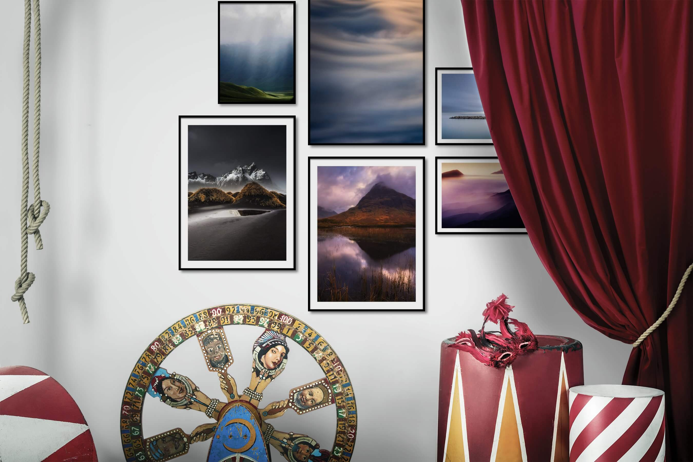 Gallery wall idea with six framed pictures arranged on a wall depicting Nature, For the Minimalist, Mindfulness, and Beach & Water