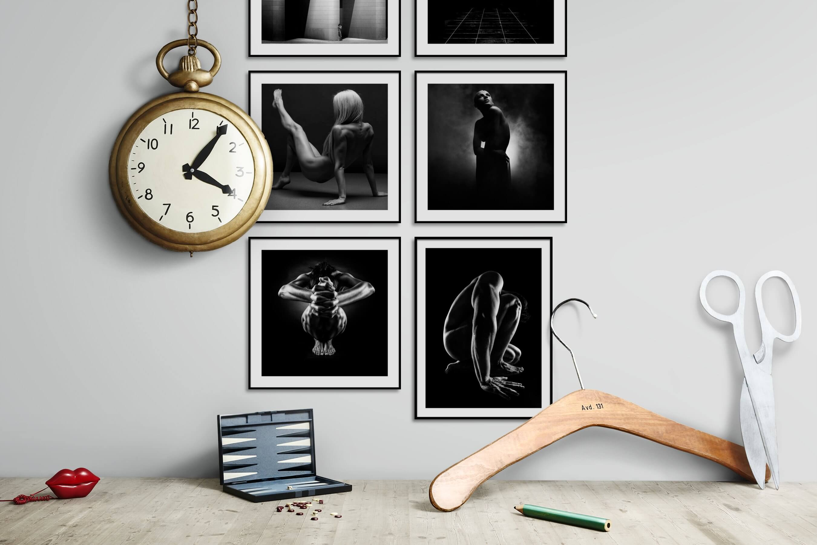 Gallery wall idea with six framed pictures arranged on a wall depicting Black & White, For the Moderate, Fashion & Beauty, and For the Minimalist