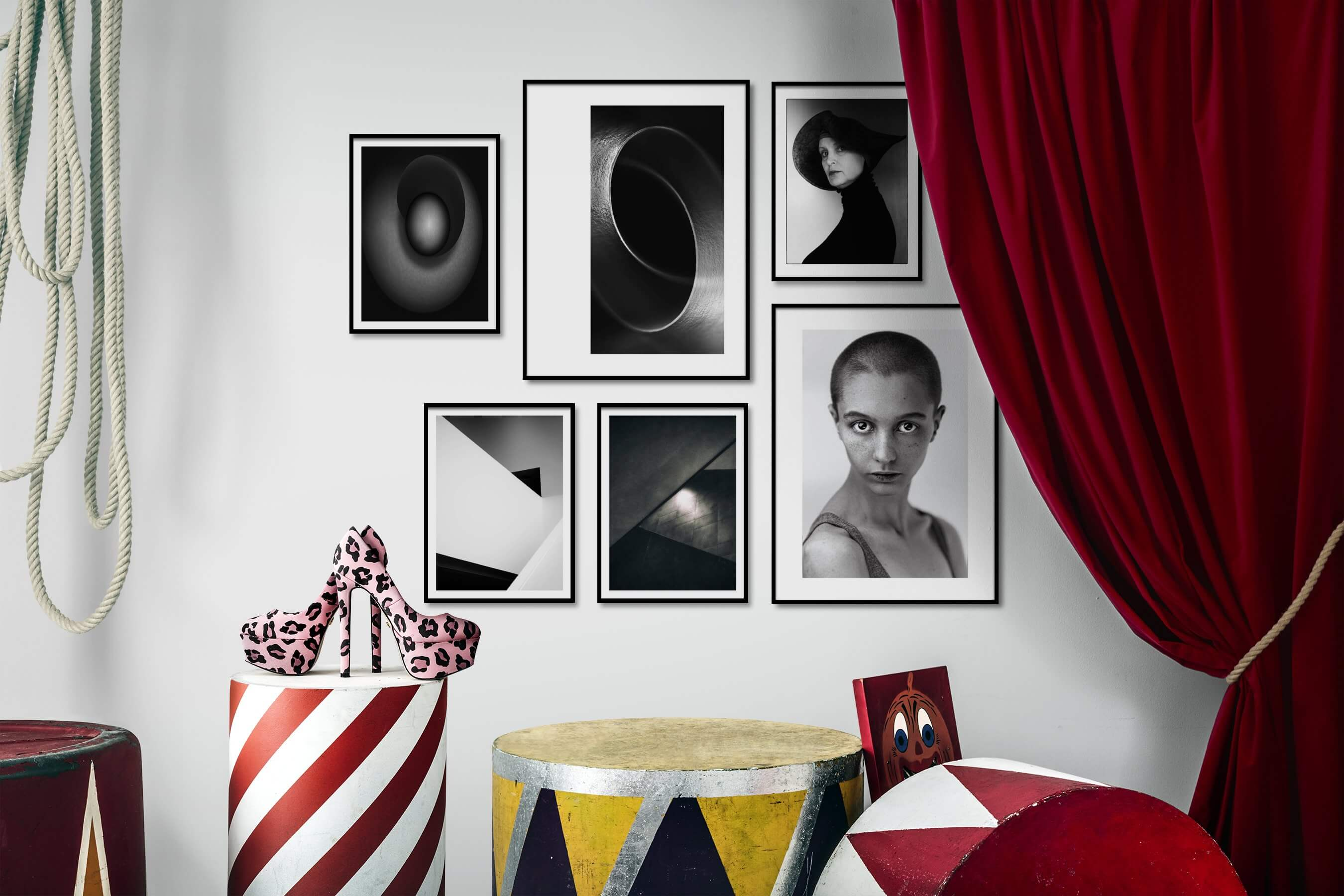 Gallery wall idea with six framed pictures arranged on a wall depicting Black & White, For the Minimalist, For the Moderate, and Fashion & Beauty
