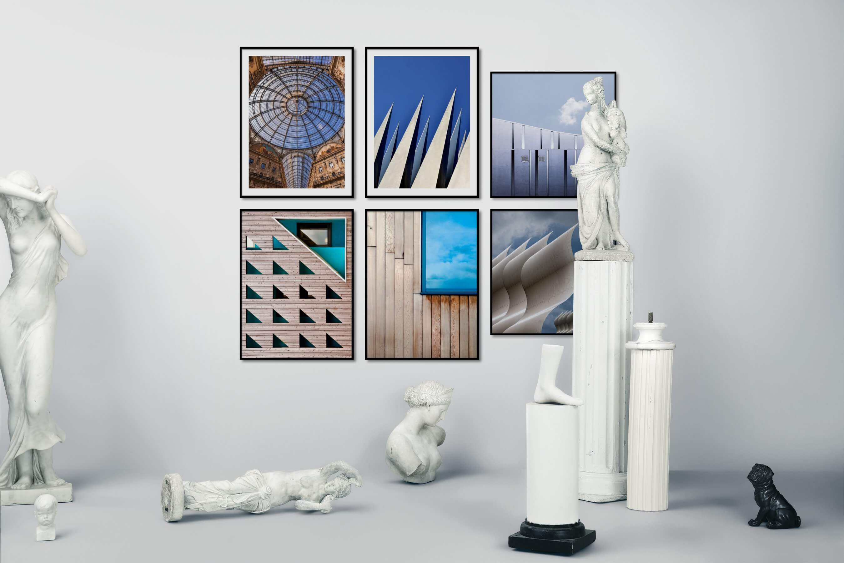 Gallery wall idea with six framed pictures arranged on a wall depicting For the Maximalist, City Life, Vintage, and For the Moderate