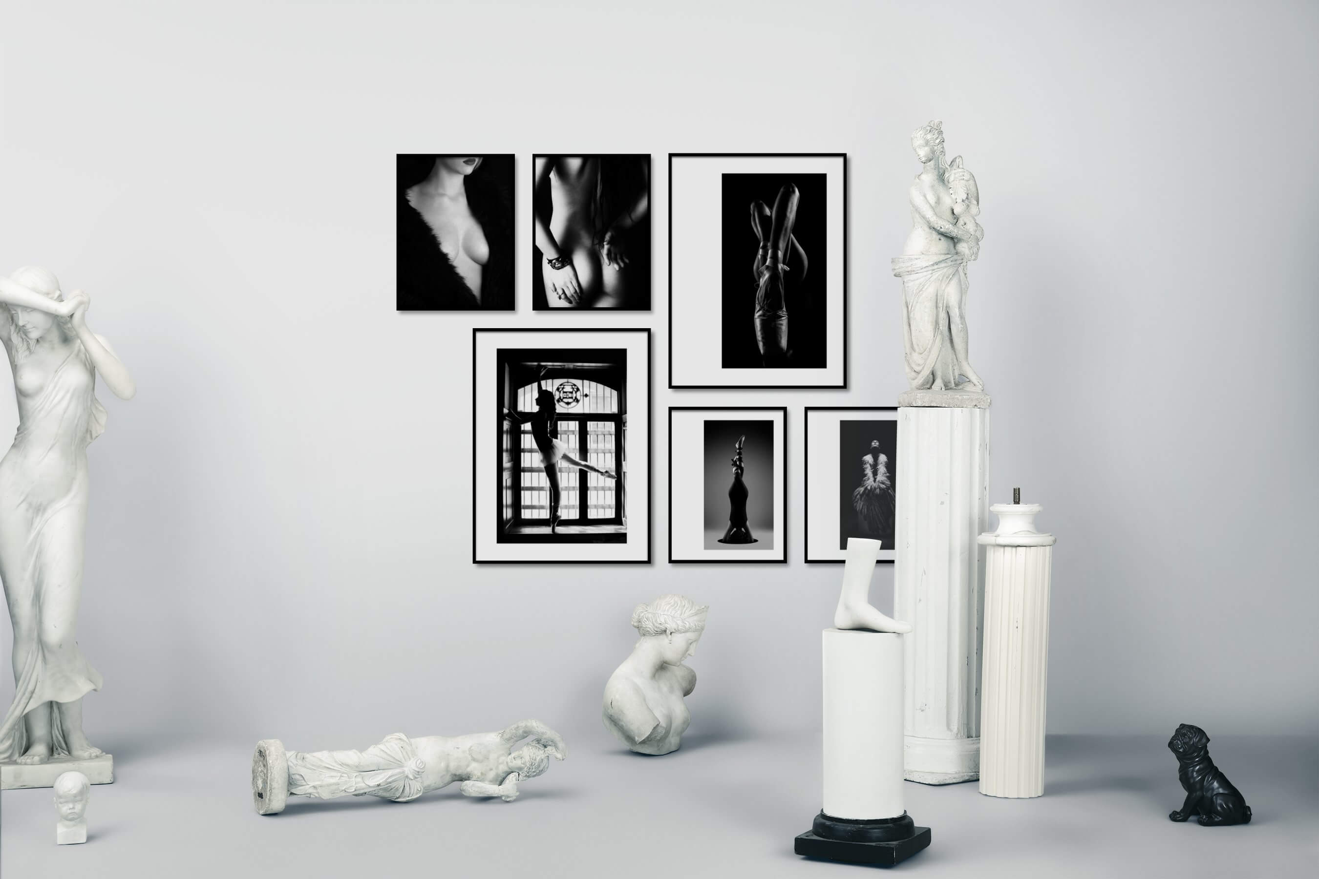 Gallery wall idea with six framed pictures arranged on a wall depicting Fashion & Beauty, Black & White, Dark Tones, For the Moderate, For the Minimalist, and Mindfulness