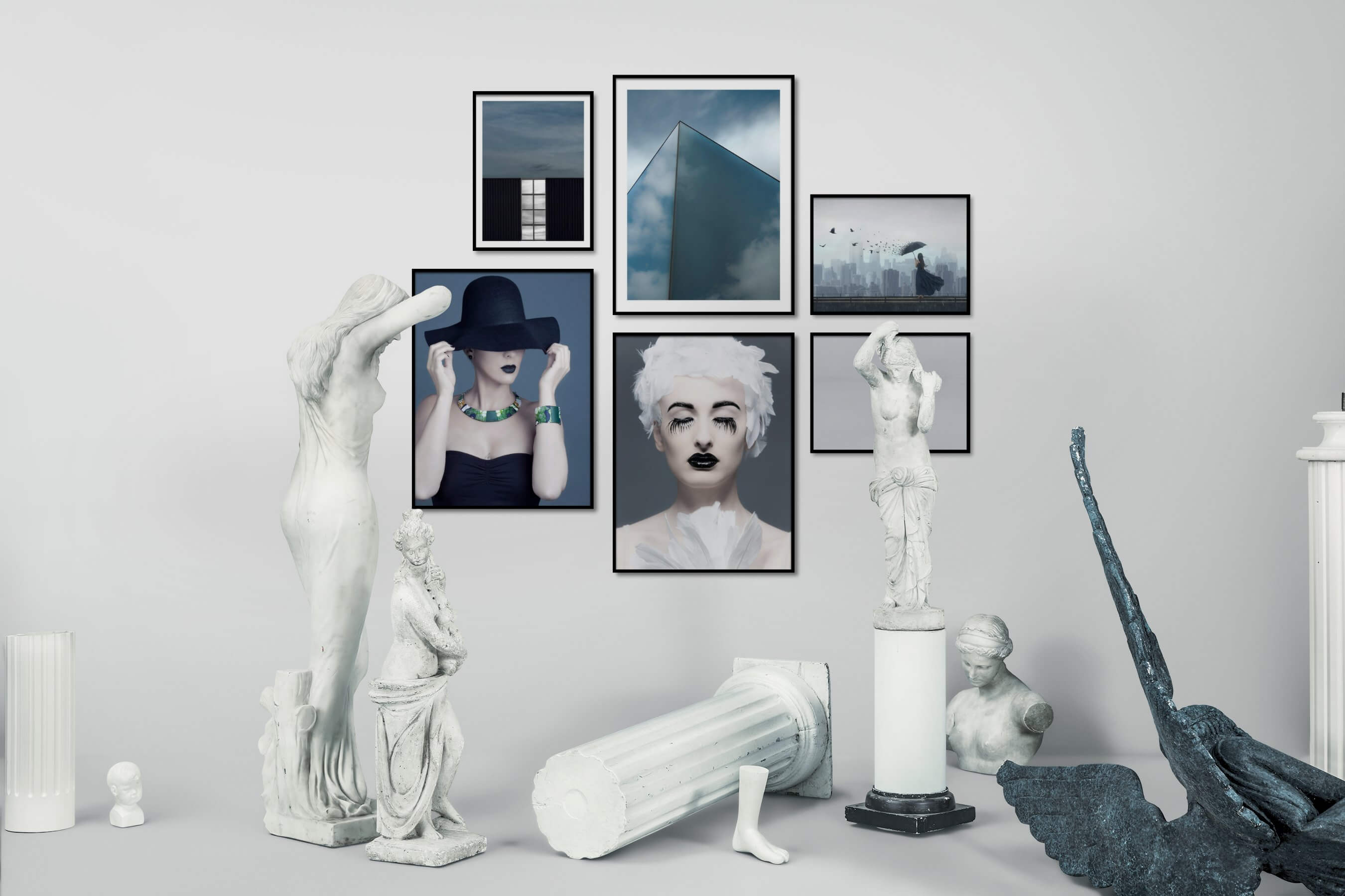 Gallery wall idea with six framed pictures arranged on a wall depicting For the Minimalist, Fashion & Beauty, Artsy, City Life, and Black & White