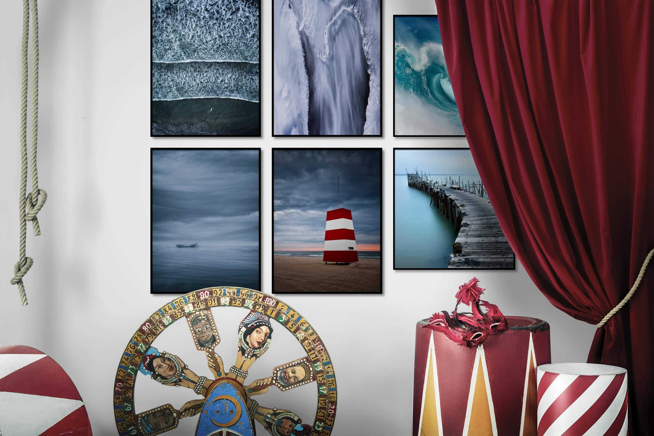 Gallery wall idea with six framed pictures arranged on a wall depicting For the Moderate, Beach & Water, Nature, and Mindfulness