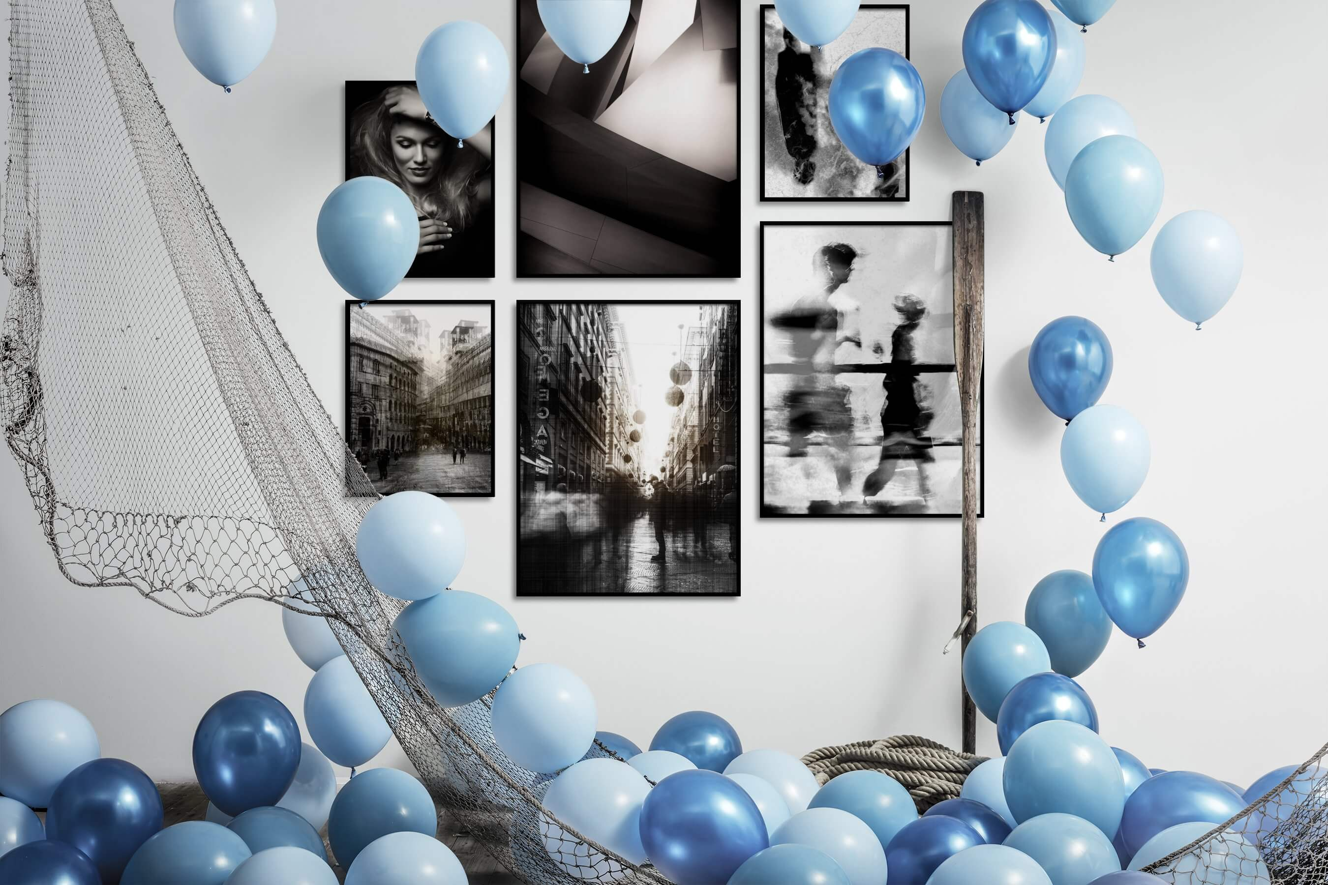 Gallery wall idea with six framed pictures arranged on a wall depicting Fashion & Beauty, Black & White, For the Moderate, For the Maximalist, City Life, and Artsy