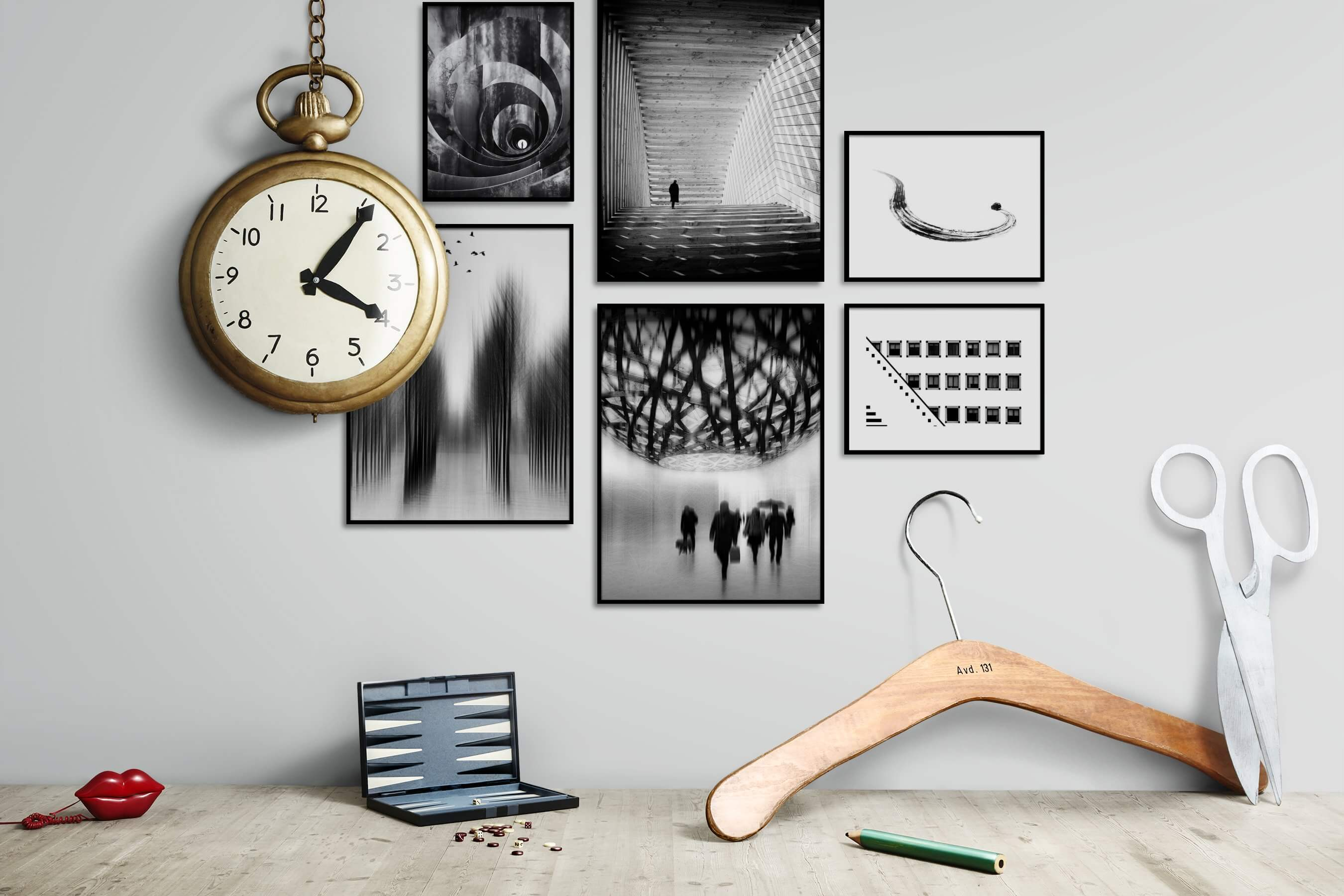 Gallery wall idea with six framed pictures arranged on a wall depicting Black & White, For the Maximalist, For the Moderate, Nature, Artsy, Bright Tones, For the Minimalist, and Country Life