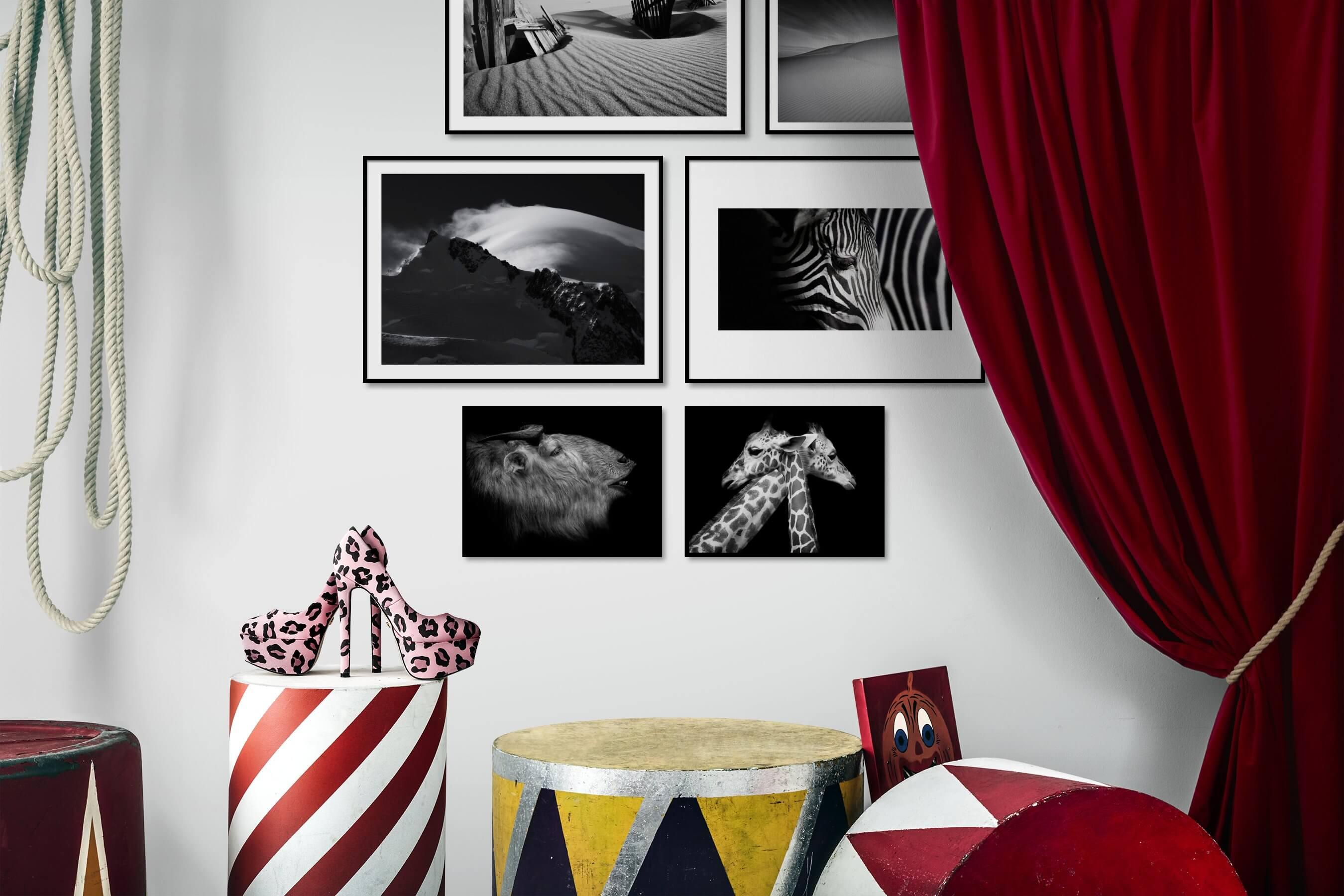 Gallery wall idea with six framed pictures arranged on a wall depicting Black & White, Nature, Animals, Dark Tones, and For the Minimalist