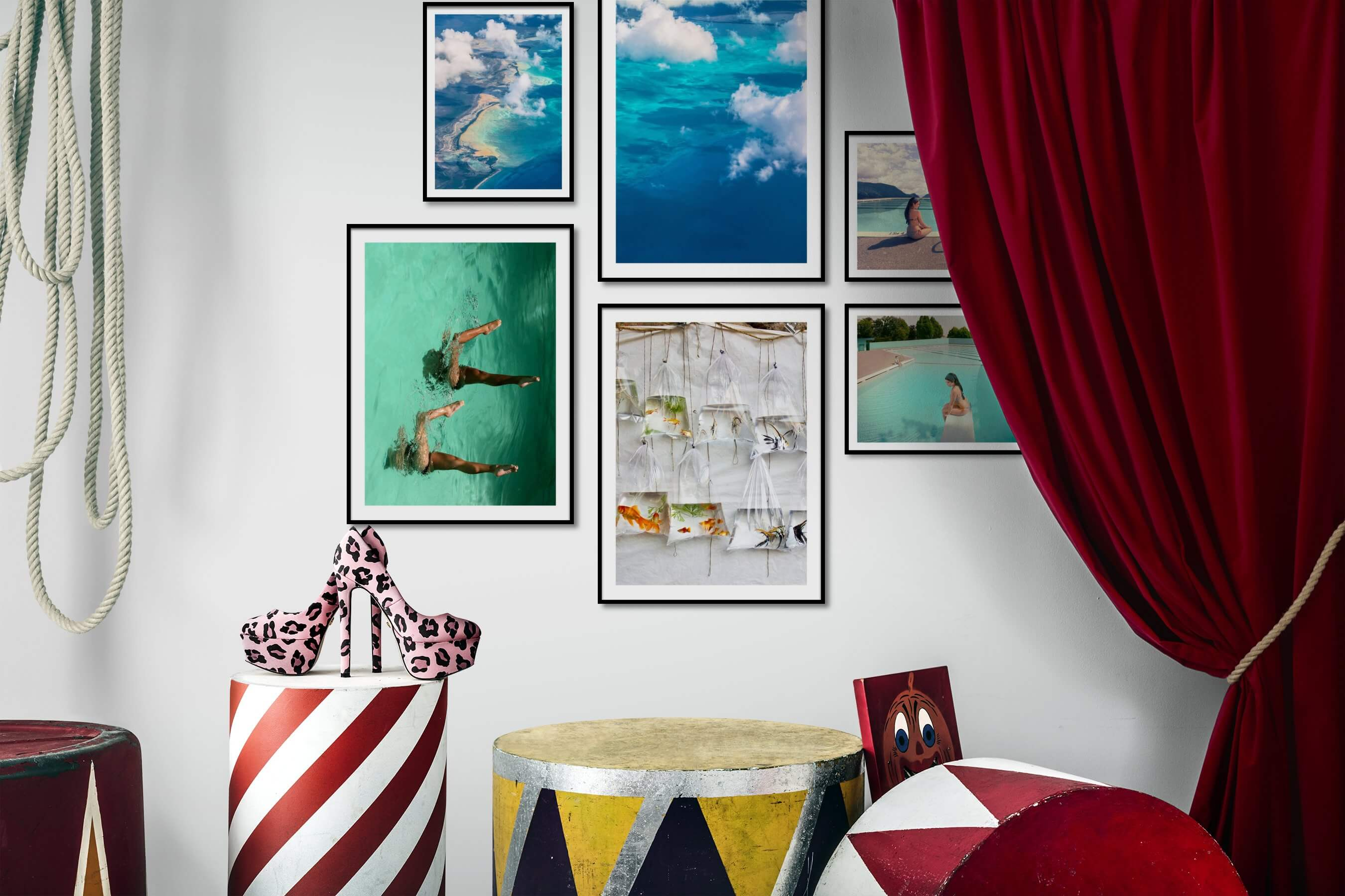 Gallery wall idea with six framed pictures arranged on a wall depicting For the Moderate, Nature, Beach & Water, Mindfulness, For the Minimalist, Animals, and Vintage