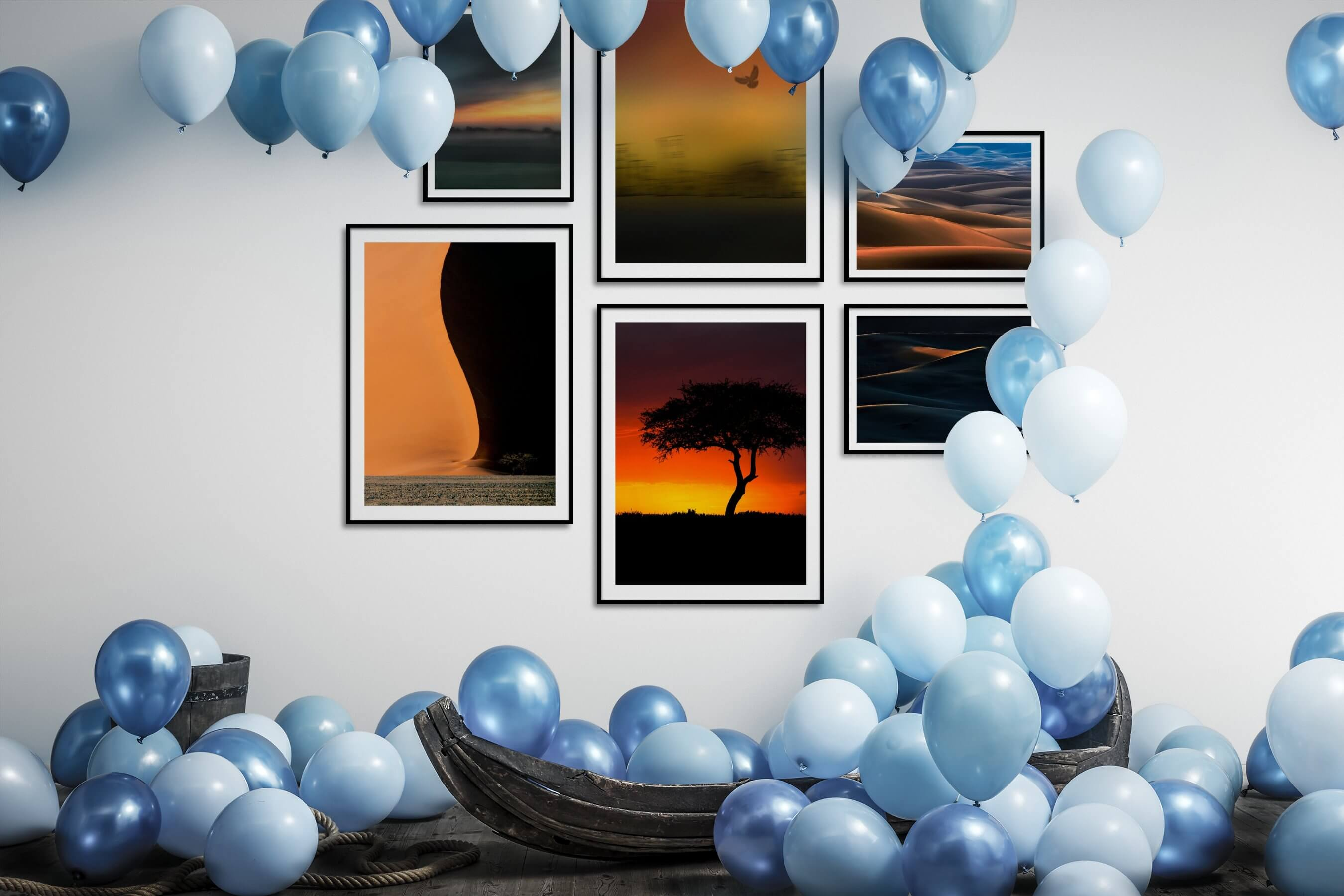 Gallery wall idea with six framed pictures arranged on a wall depicting For the Moderate, Country Life, City Life, For the Minimalist, and Nature