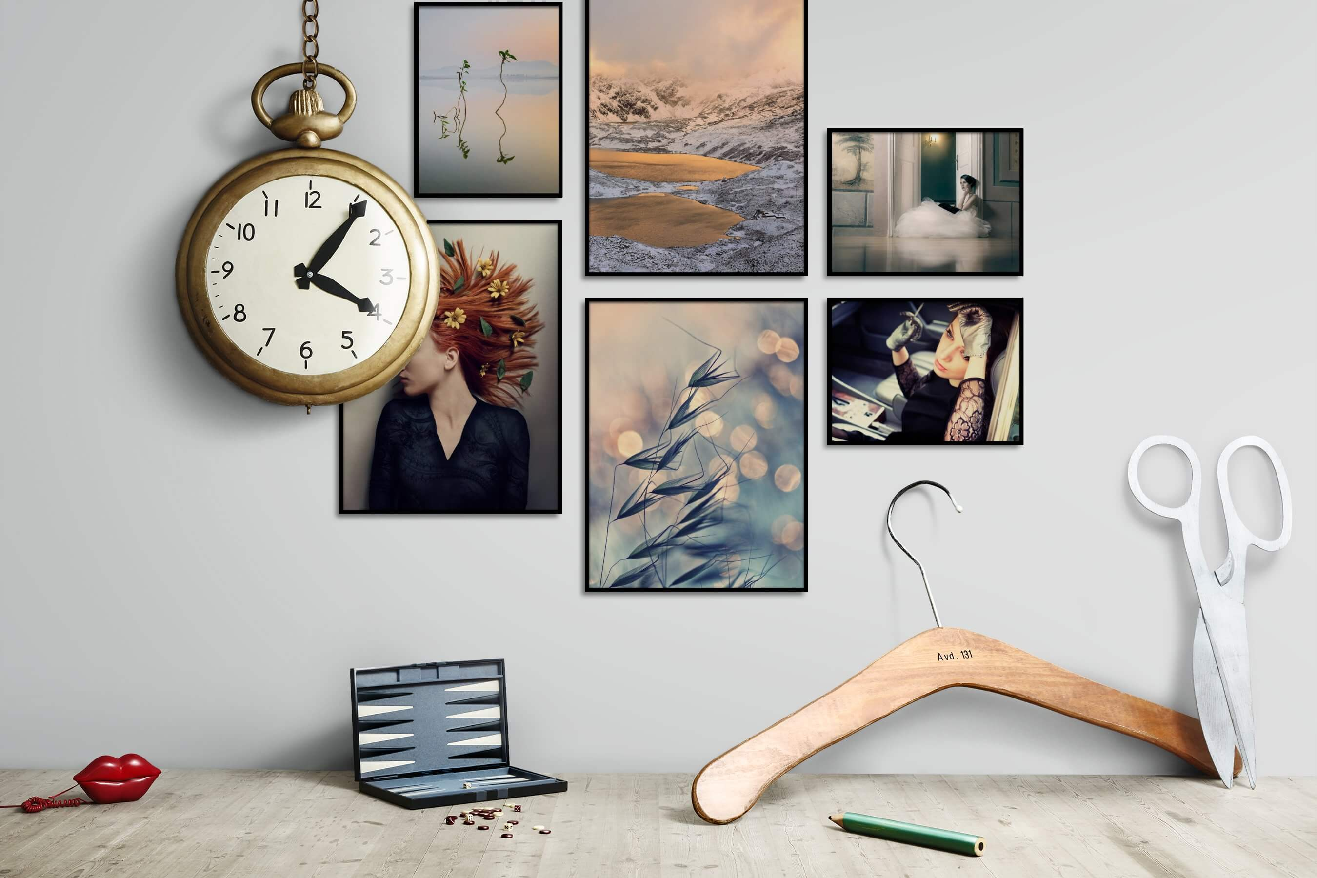 Gallery wall idea with six framed pictures arranged on a wall depicting For the Minimalist, Nature, Mindfulness, Fashion & Beauty, For the Moderate, and Flowers & Plants