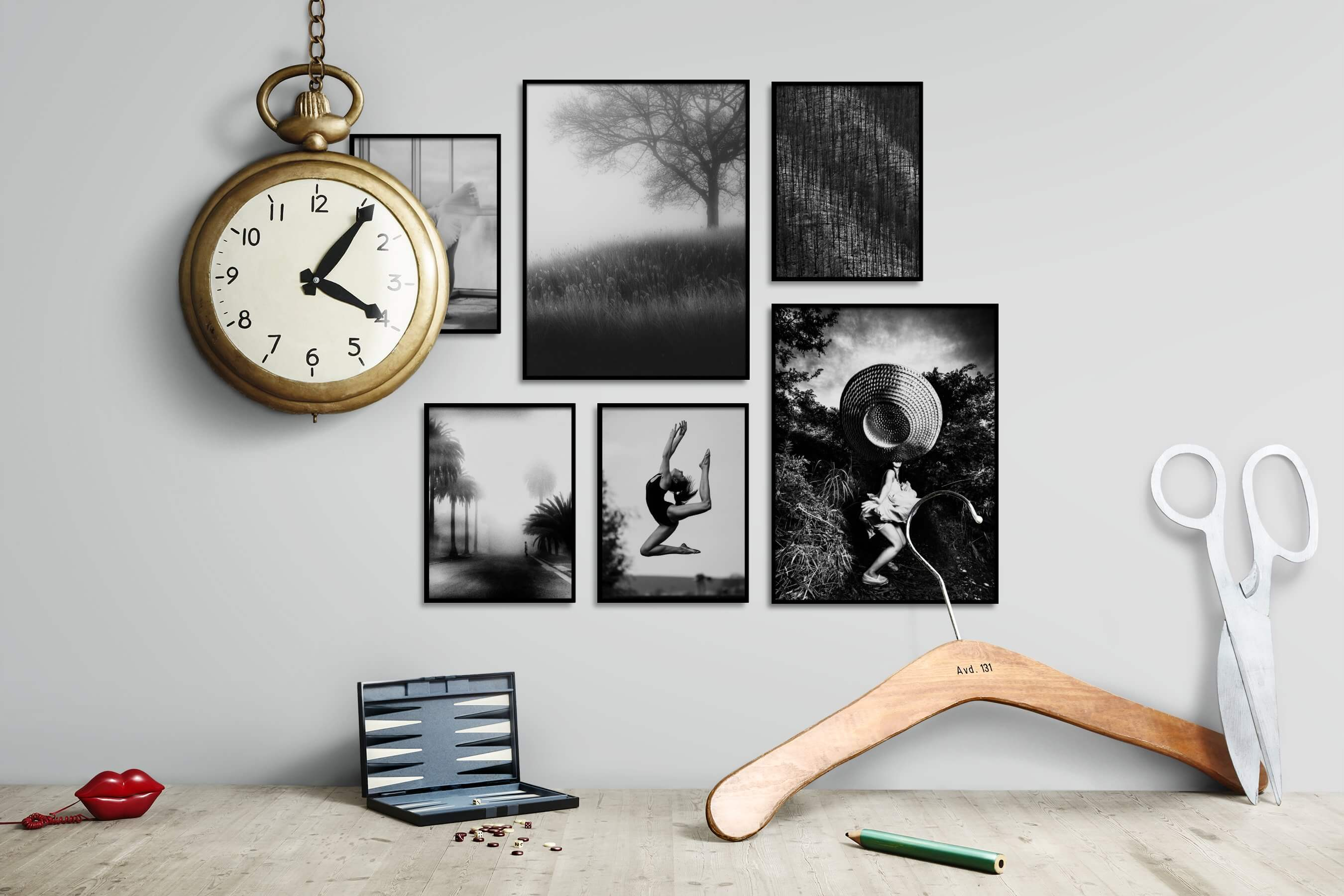 Gallery wall idea with six framed pictures arranged on a wall depicting Fashion & Beauty, Black & White, Country Life, Mindfulness, For the Moderate, City Life, and Nature