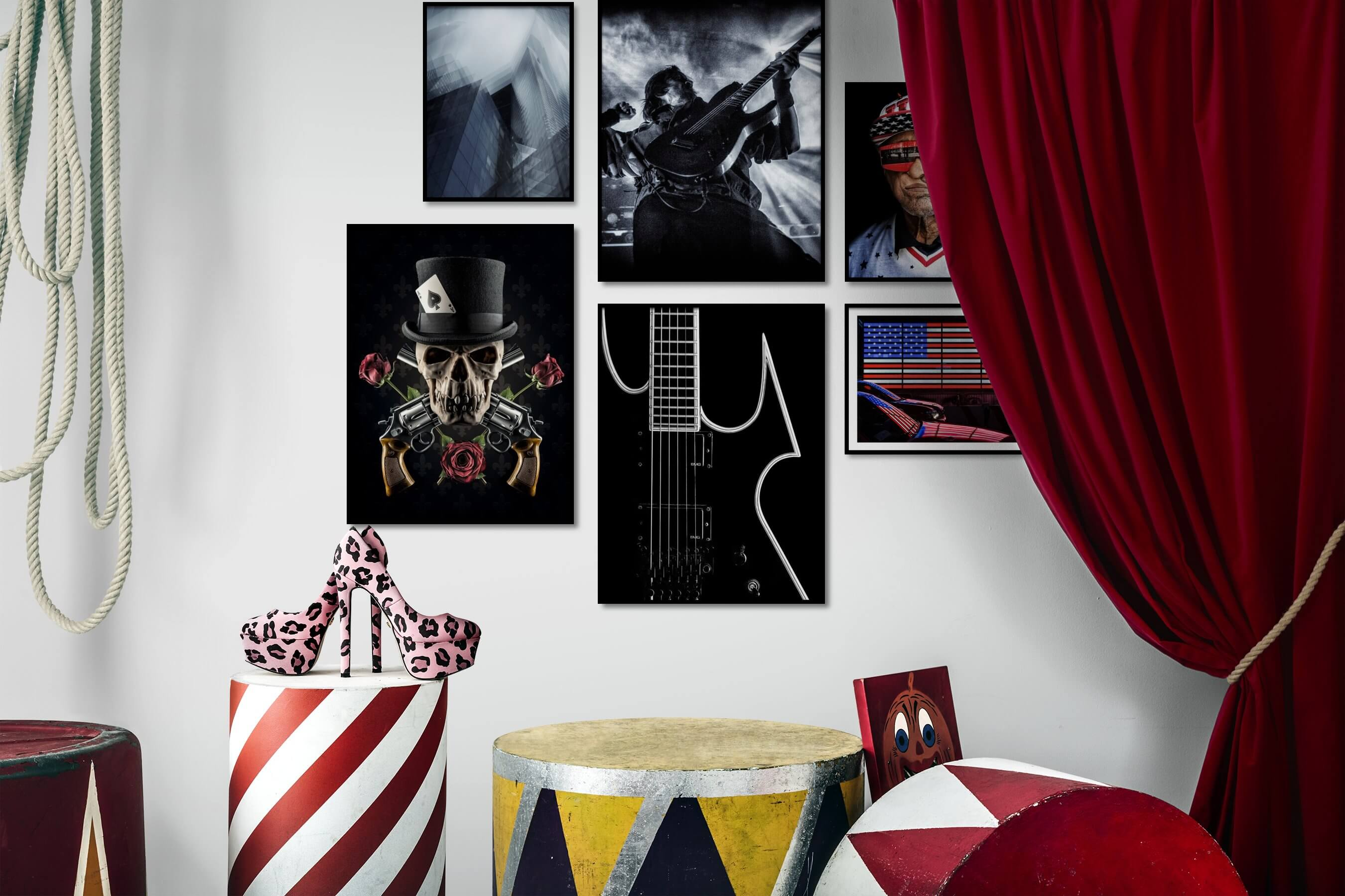 Gallery wall idea with six framed pictures arranged on a wall depicting For the Maximalist, City Life, Fashion & Beauty, Black & White, Artsy, Dark Tones, Flowers & Plants, Vintage, For the Moderate, Americana, and Colorful