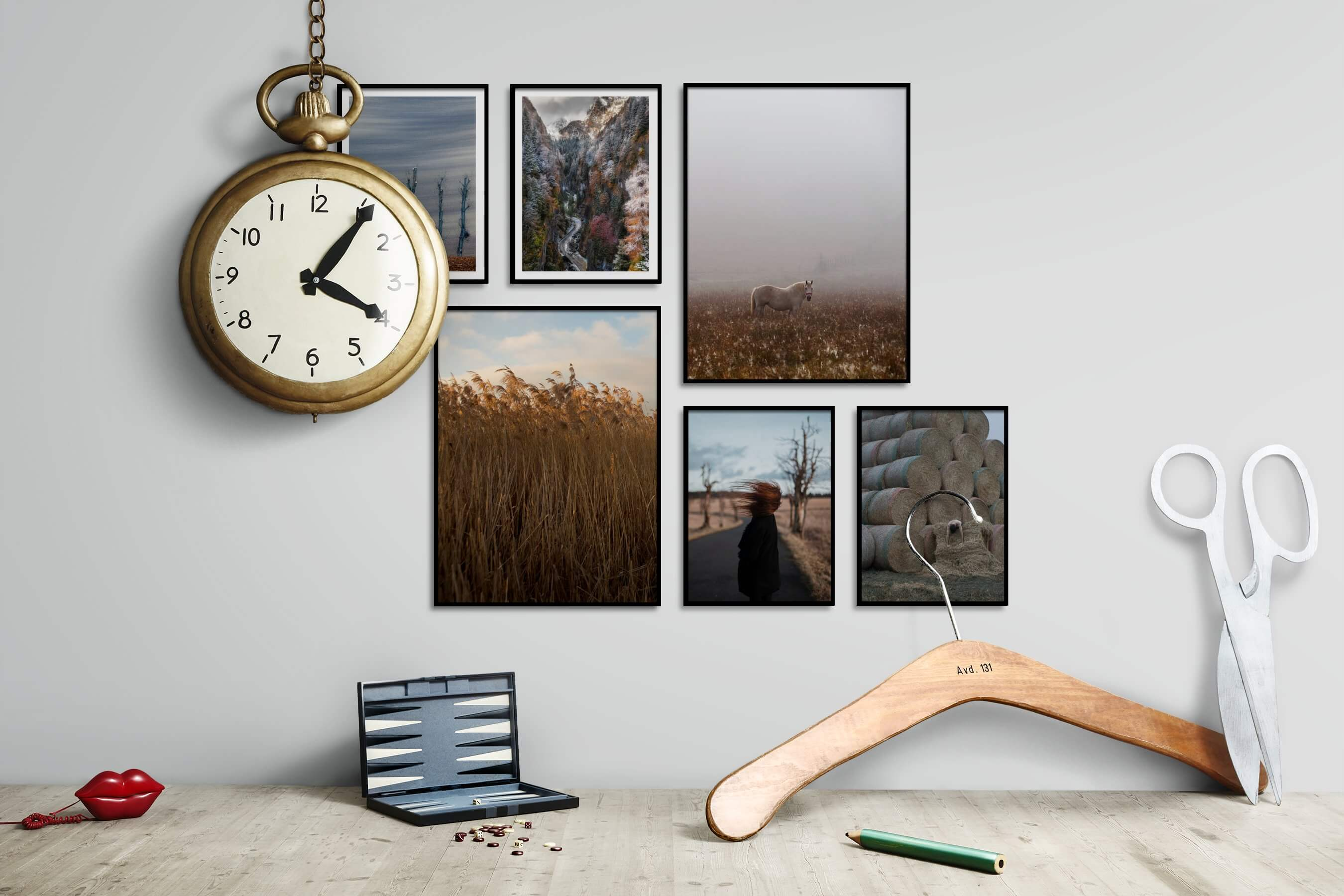 Gallery wall idea with six framed pictures arranged on a wall depicting For the Moderate, Country Life, Nature, Mindfulness, Animals, and Artsy