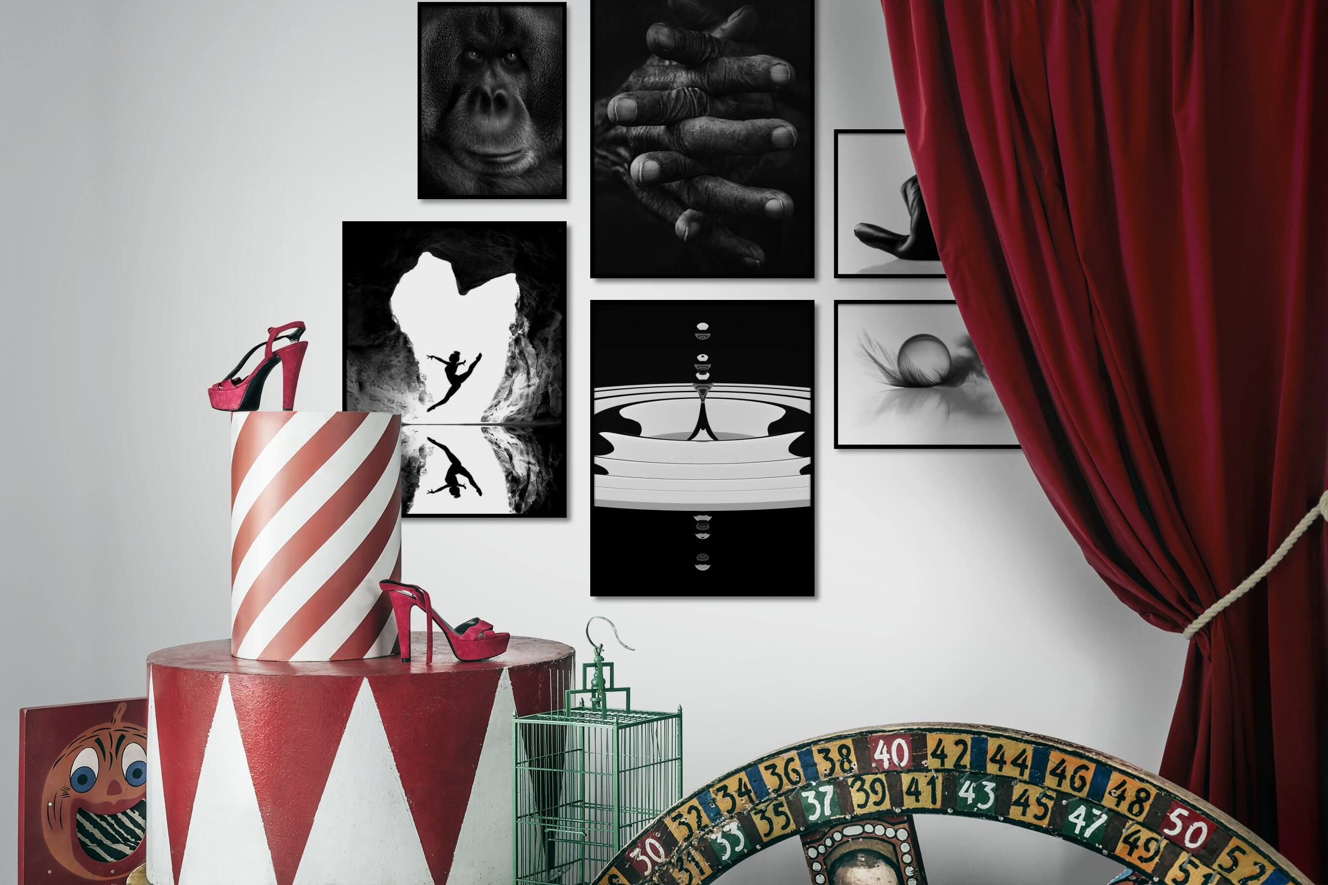 Gallery wall idea with six framed pictures arranged on a wall depicting Black & White, Animals, Dark Tones, For the Moderate, Mindfulness, Fashion & Beauty, Bright Tones, and For the Minimalist