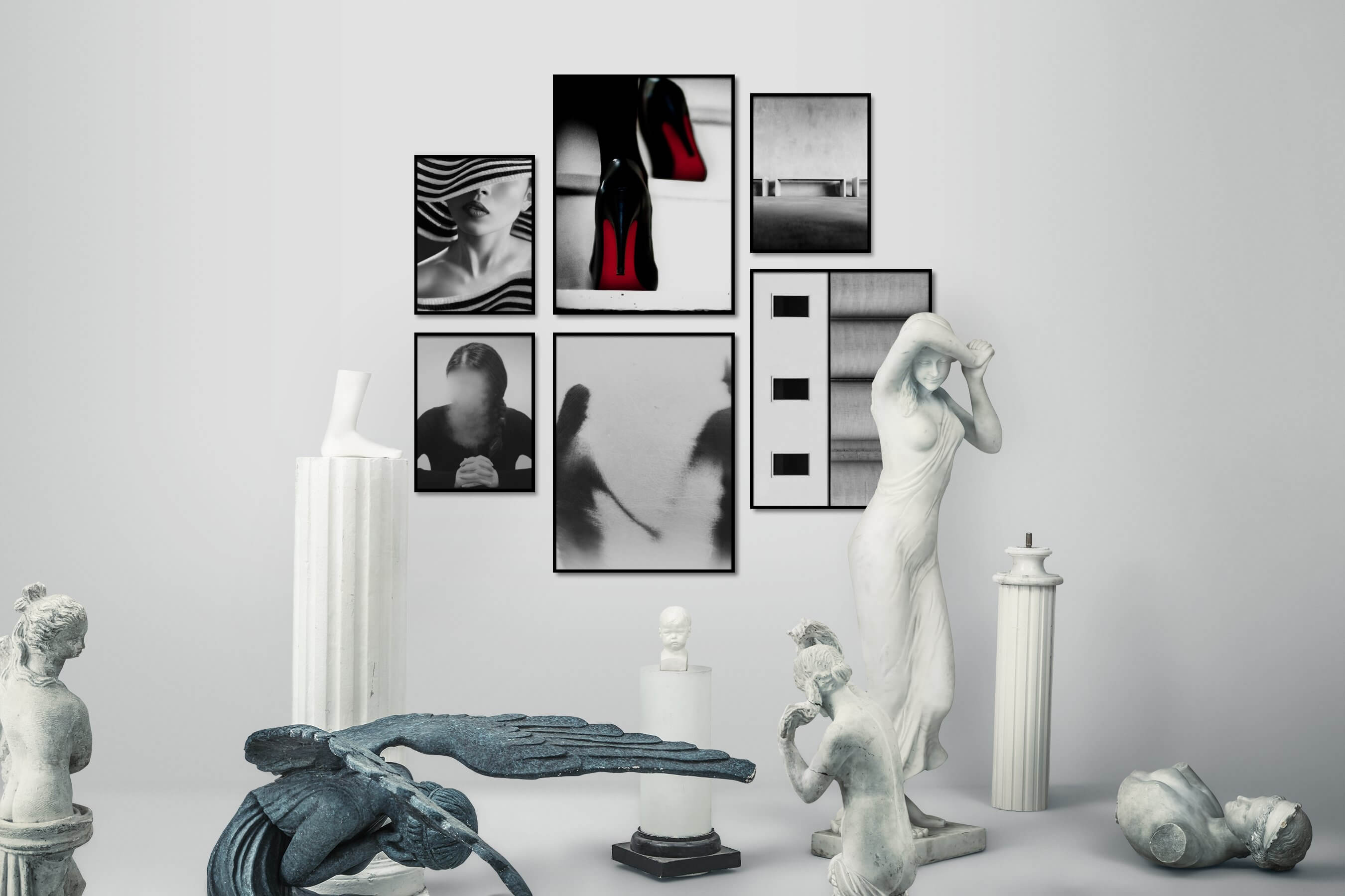 Gallery wall idea with six framed pictures arranged on a wall depicting Fashion & Beauty, Black & White, For the Moderate, Artsy, and For the Minimalist