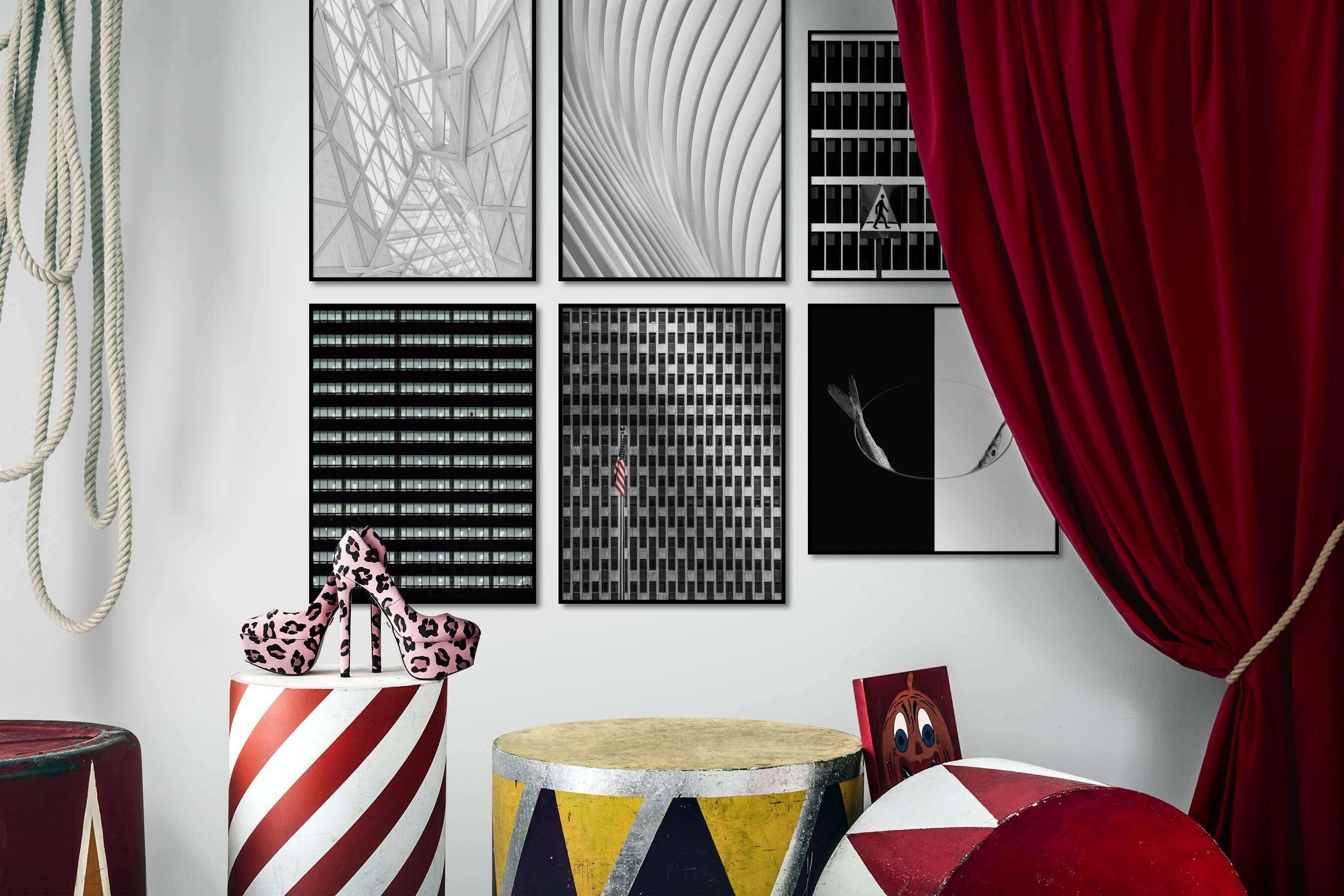 Gallery wall idea with six framed pictures arranged on a wall depicting Black & White, For the Maximalist, City Life, Americana, For the Minimalist, and Animals