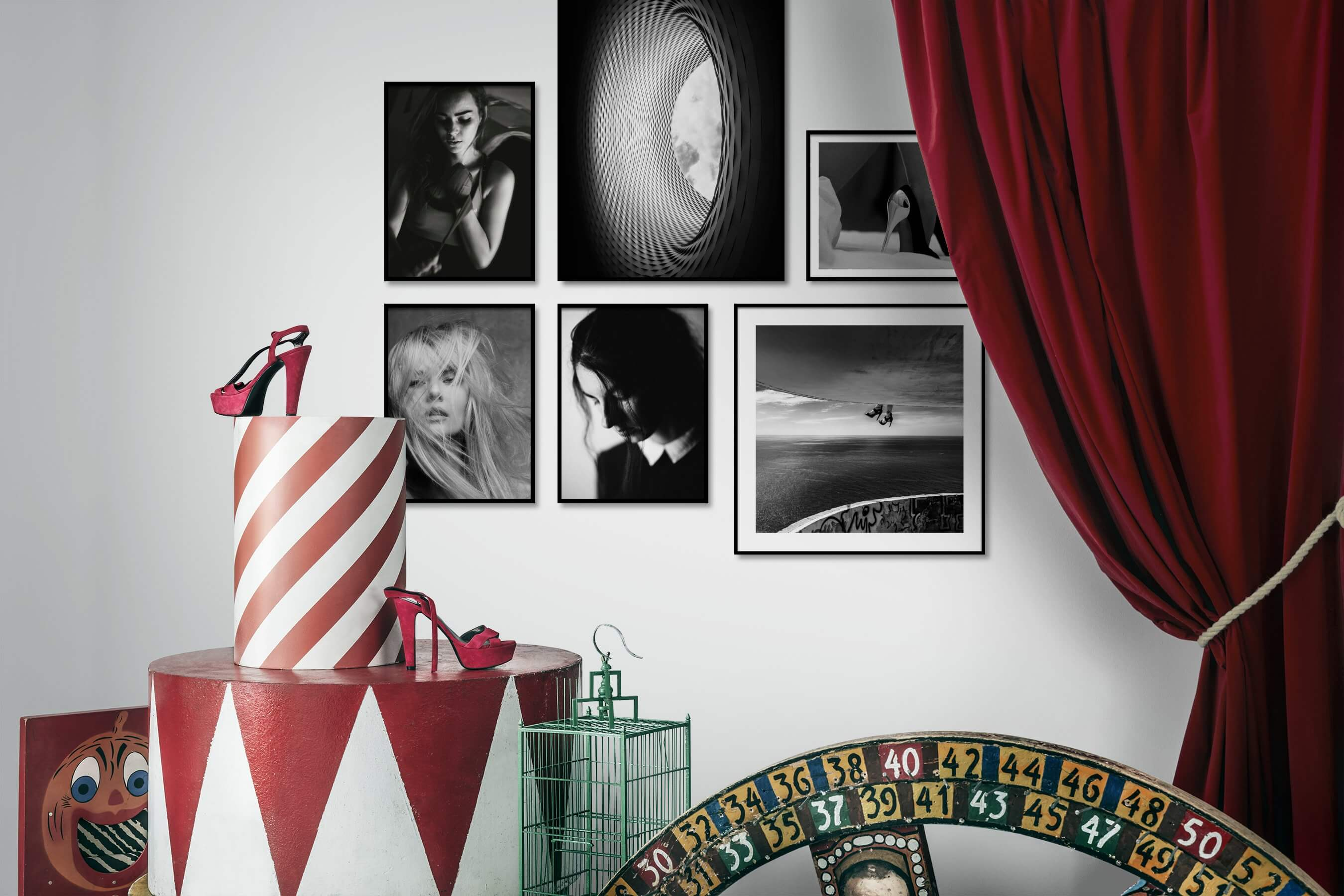 Gallery wall idea with six framed pictures arranged on a wall depicting Fashion & Beauty, Black & White, For the Maximalist, and Beach & Water