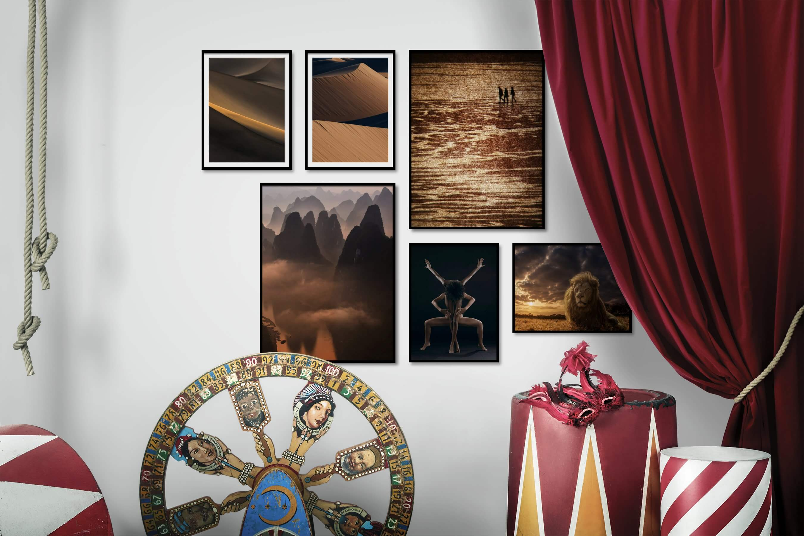 Gallery wall idea with six framed pictures arranged on a wall depicting For the Moderate, Nature, Mindfulness, Country Life, Artsy, Dark Tones, For the Minimalist, and Animals