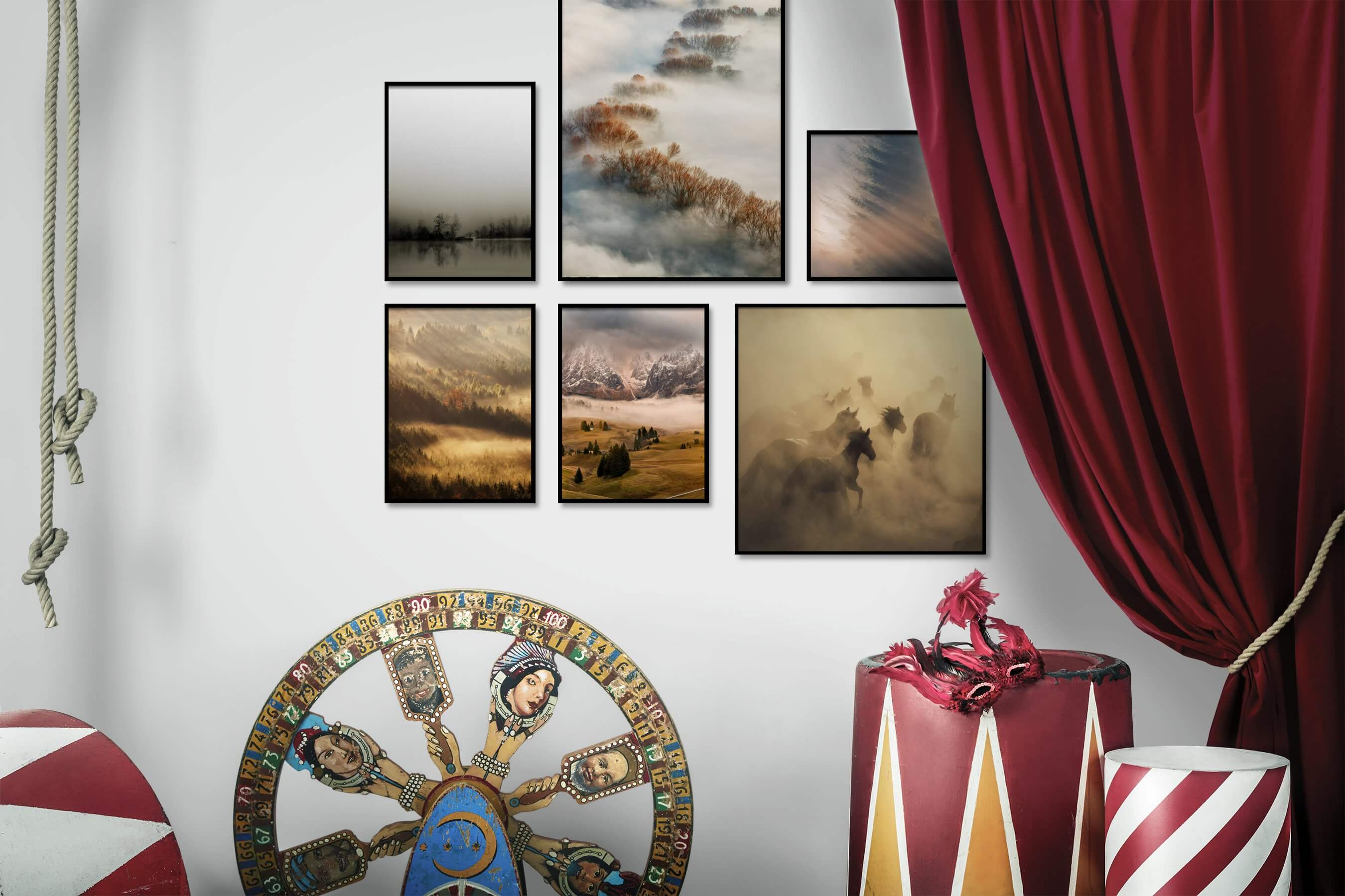 Gallery wall idea with six framed pictures arranged on a wall depicting For the Minimalist, Nature, Mindfulness, For the Moderate, Animals, and Country Life
