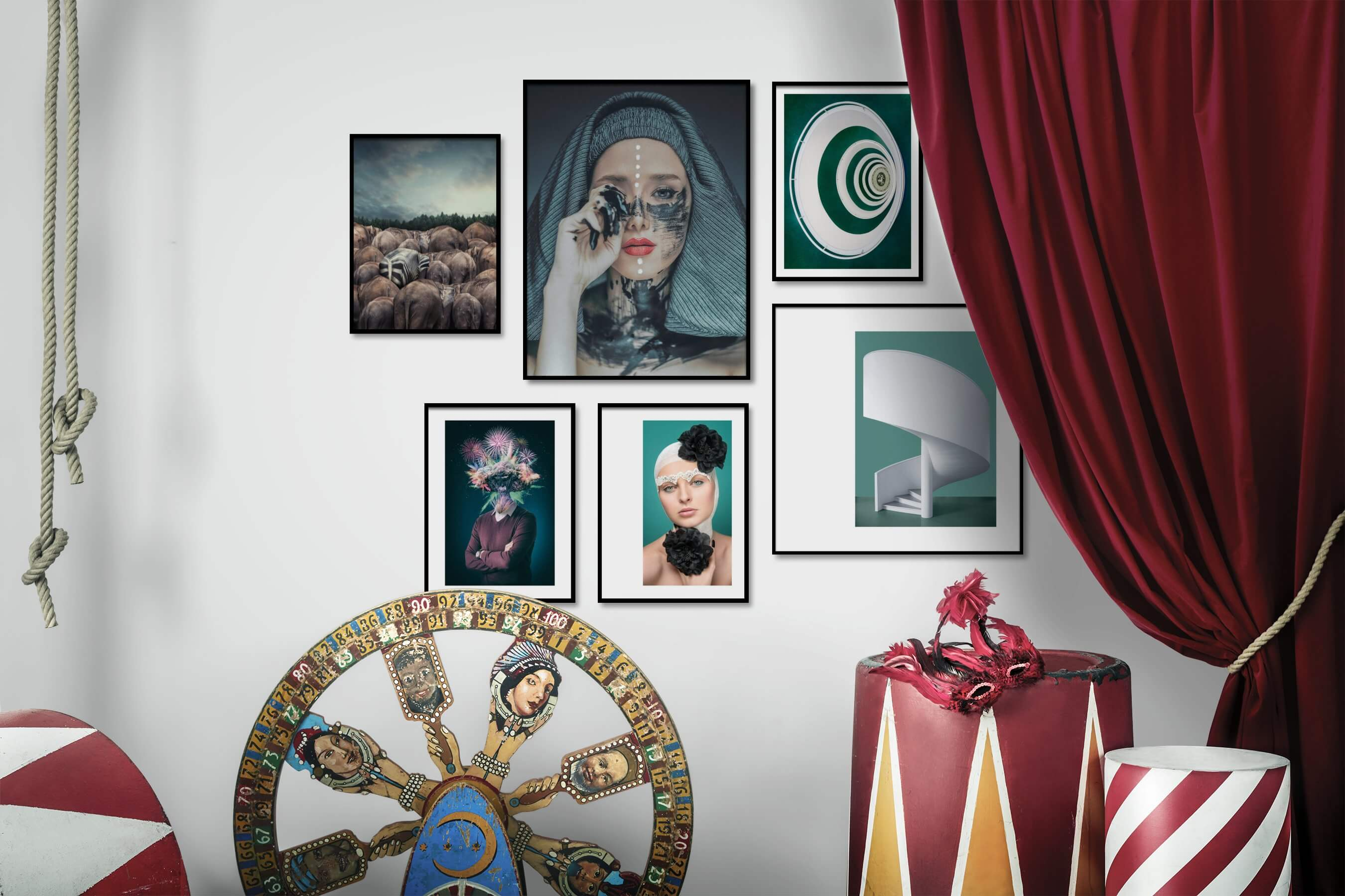 Gallery wall idea with six framed pictures arranged on a wall depicting For the Moderate, Animals, Fashion & Beauty, Artsy, and For the Minimalist