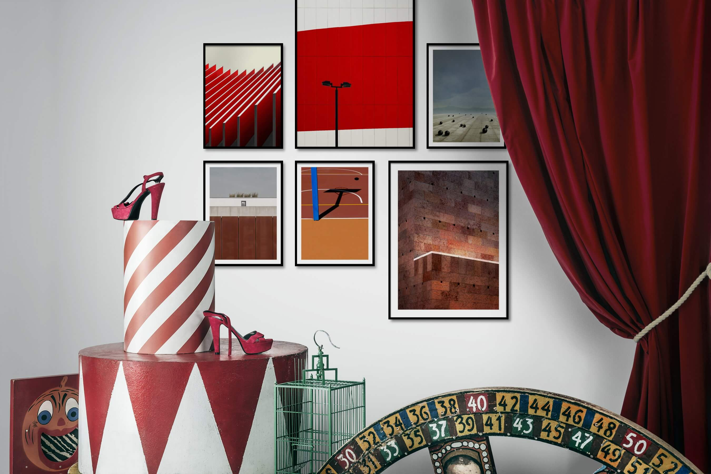 Gallery wall idea with six framed pictures arranged on a wall depicting For the Moderate, For the Minimalist, City Life, Vintage, and Artsy