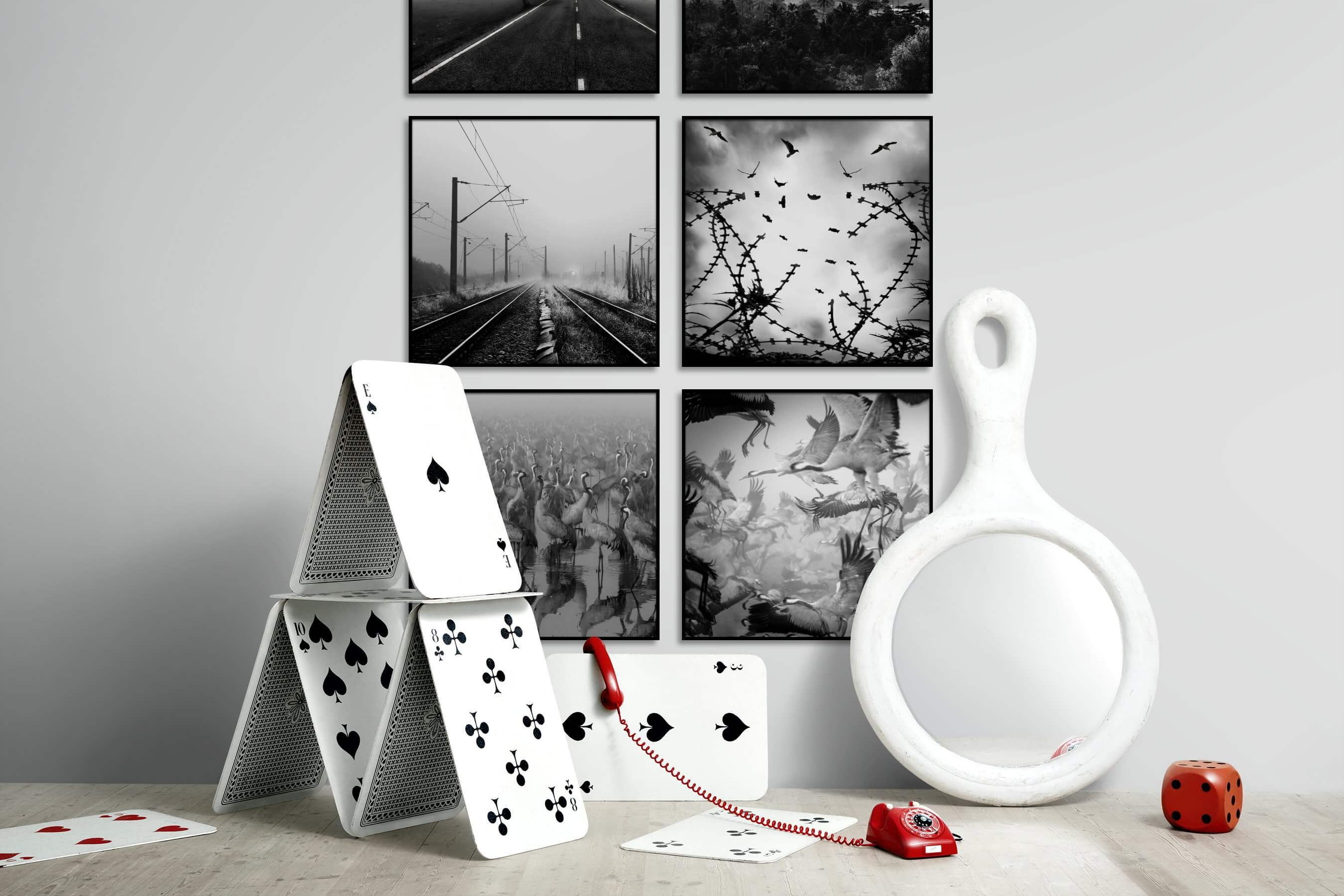 Gallery wall idea with six framed pictures arranged on a wall depicting Black & White, Country Life, Nature, For the Moderate, Animals, and For the Maximalist
