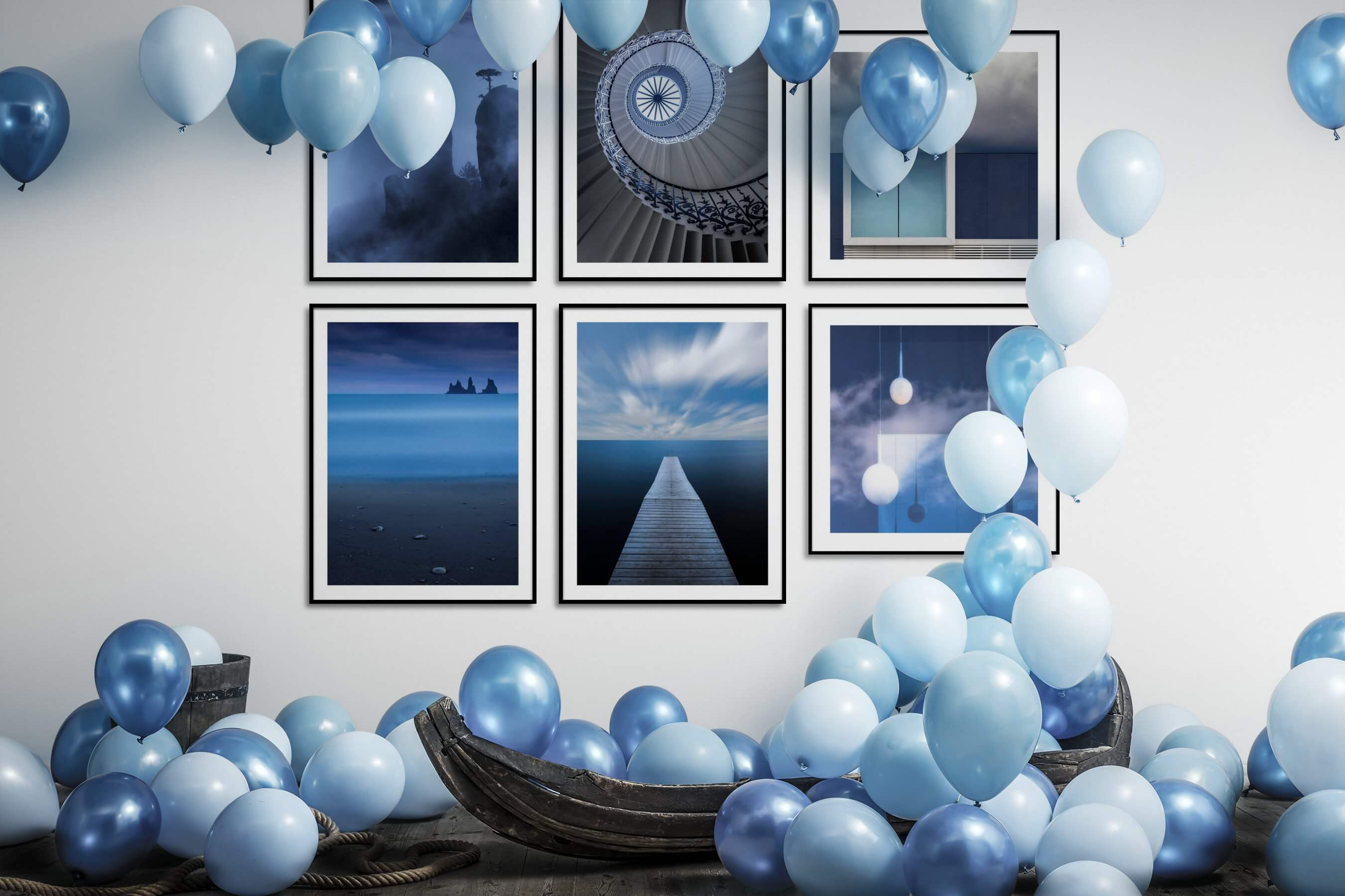 Gallery wall idea with six framed pictures arranged on a wall depicting Nature, For the Moderate, Beach & Water, and Mindfulness