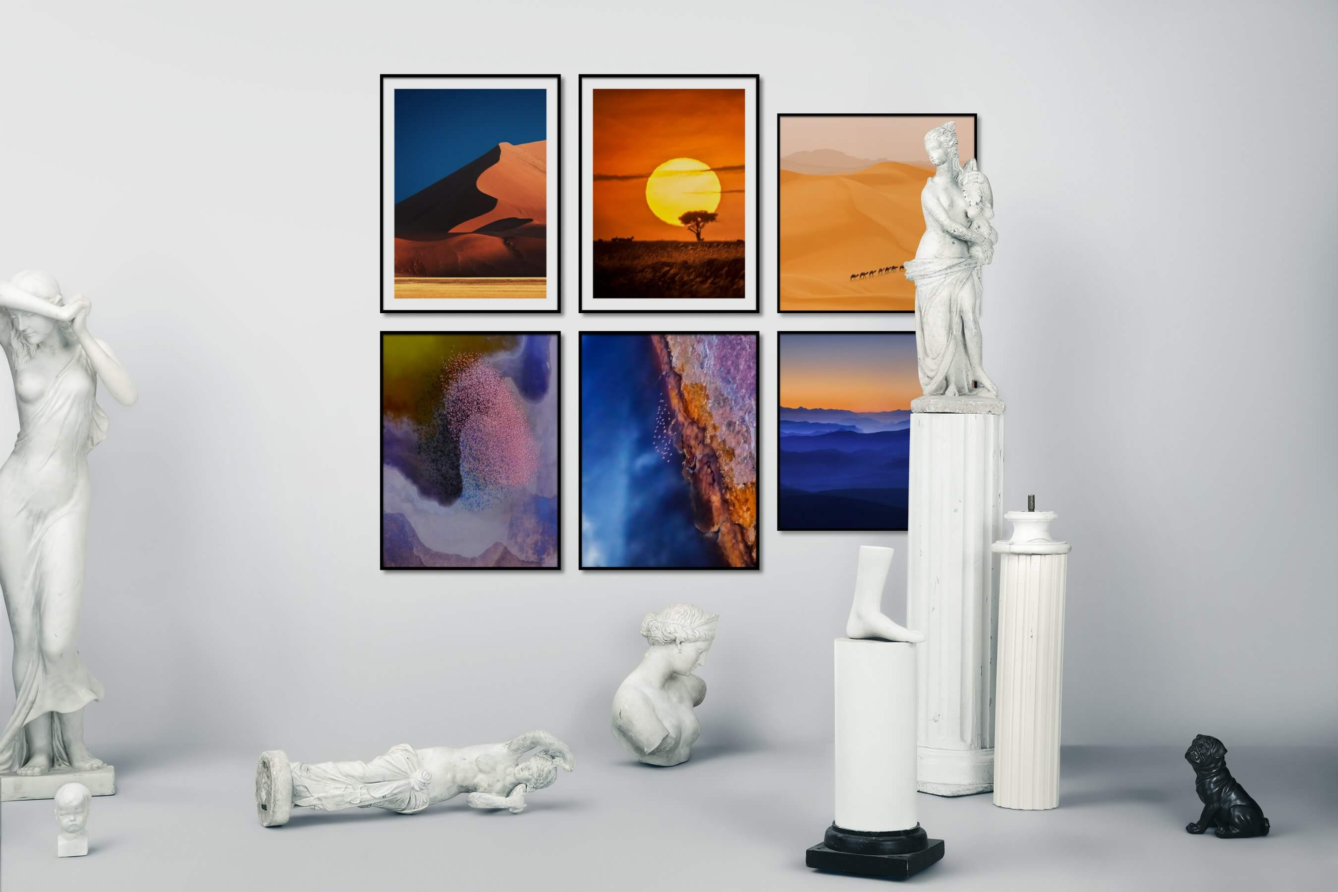 Gallery wall idea with six framed pictures arranged on a wall depicting For the Moderate, Nature, For the Minimalist, Animals, and Mindfulness