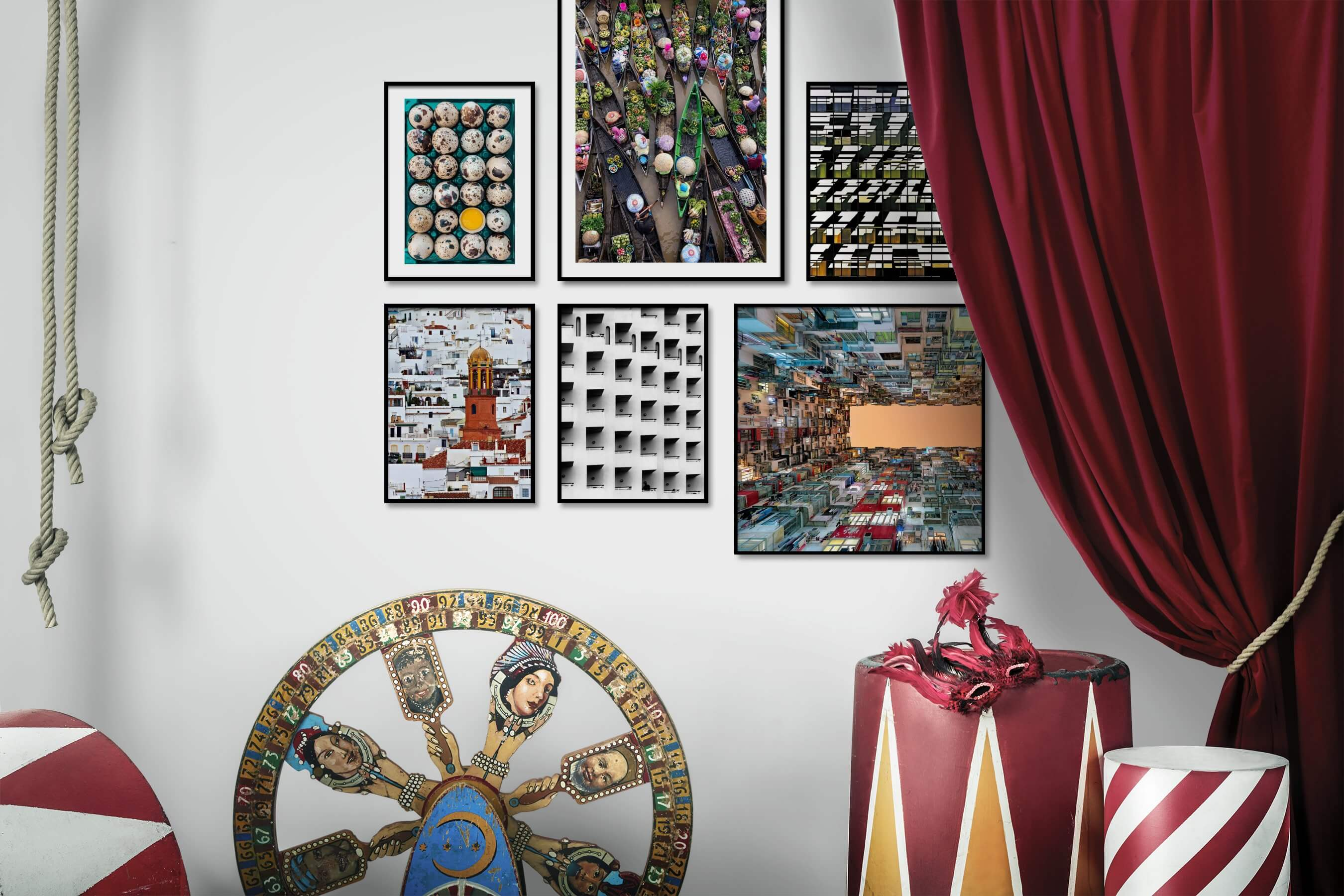 Gallery wall idea with six framed pictures arranged on a wall depicting For the Maximalist, City Life, and Black & White