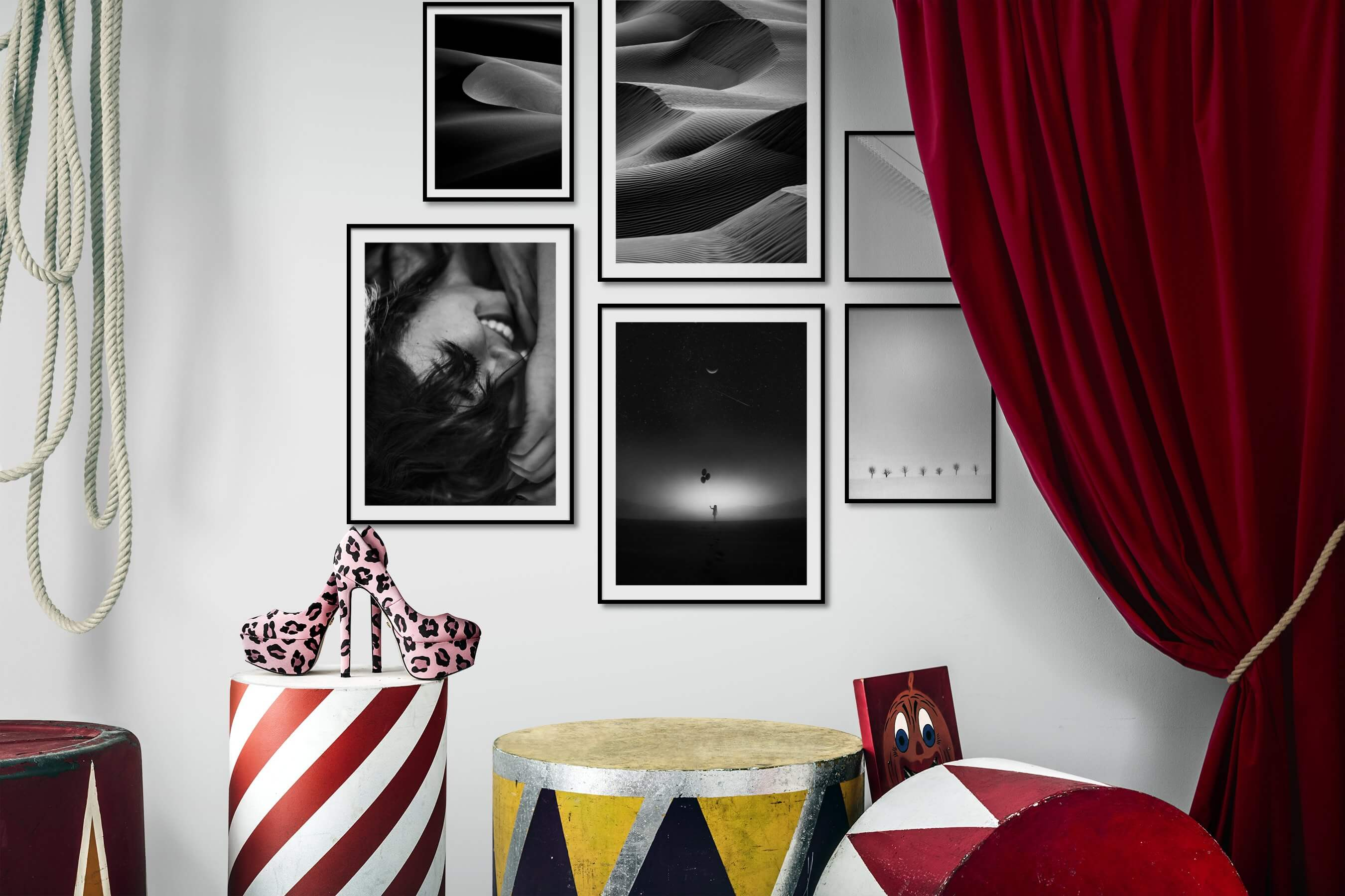 Gallery wall idea with six framed pictures arranged on a wall depicting Black & White, For the Minimalist, Nature, For the Moderate, Fashion & Beauty, Bright Tones, and Country Life