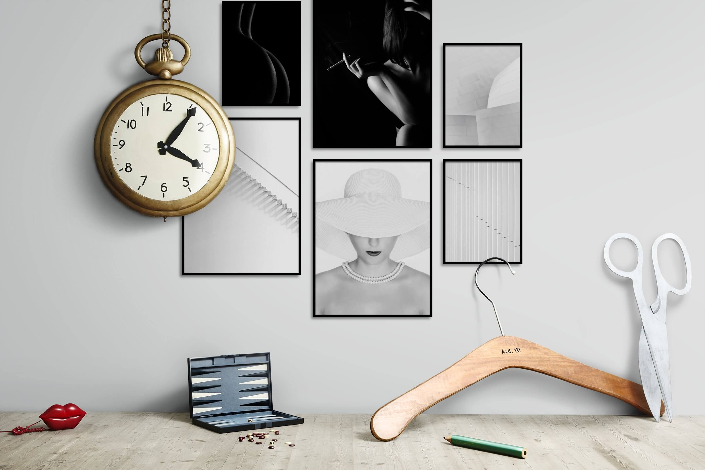Gallery wall idea with six framed pictures arranged on a wall depicting Fashion & Beauty, Black & White, Dark Tones, For the Minimalist, Vintage, Bright Tones, and For the Moderate