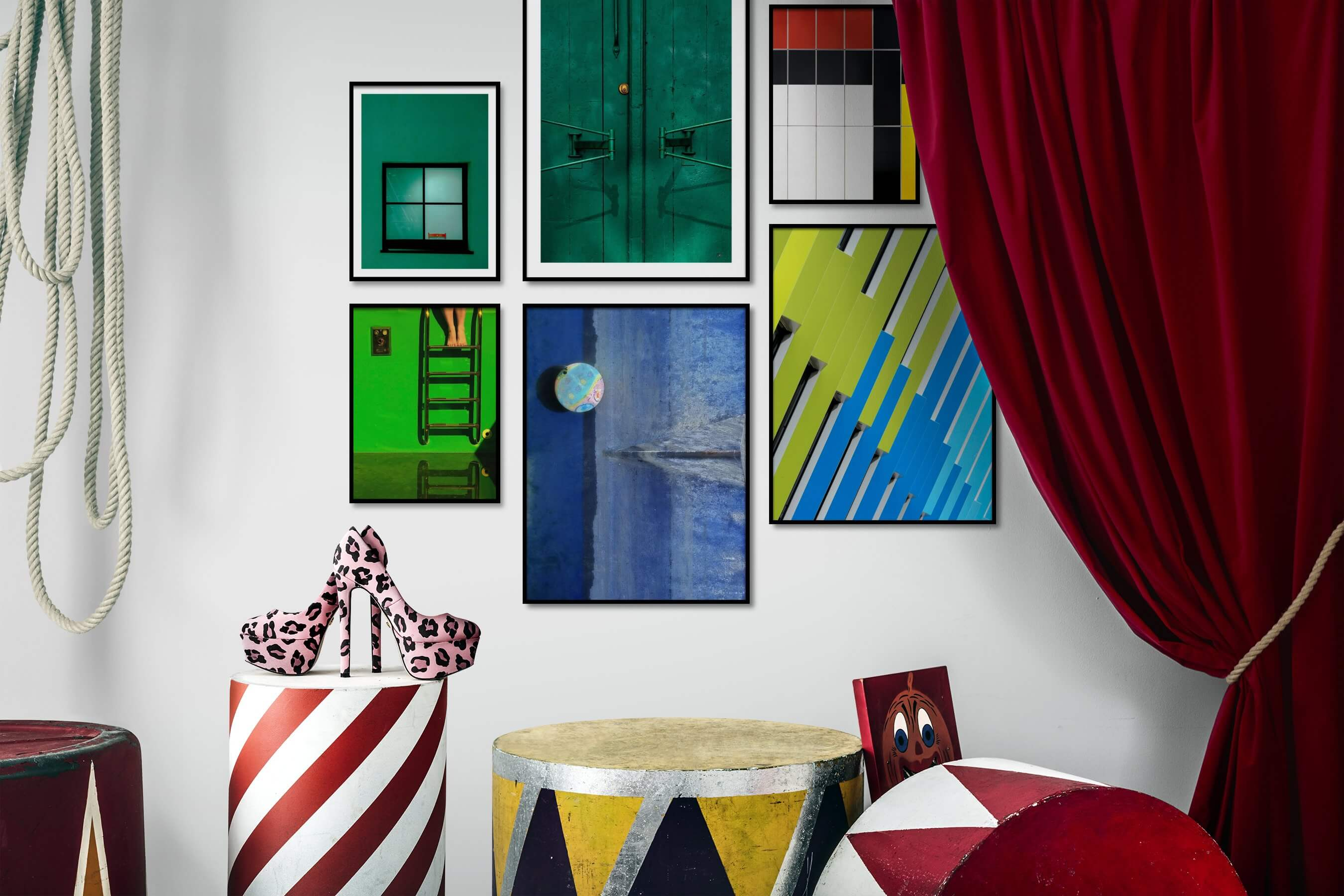 Gallery wall idea with six framed pictures arranged on a wall depicting For the Minimalist, For the Moderate, Colorful, Beach & Water, and For the Maximalist