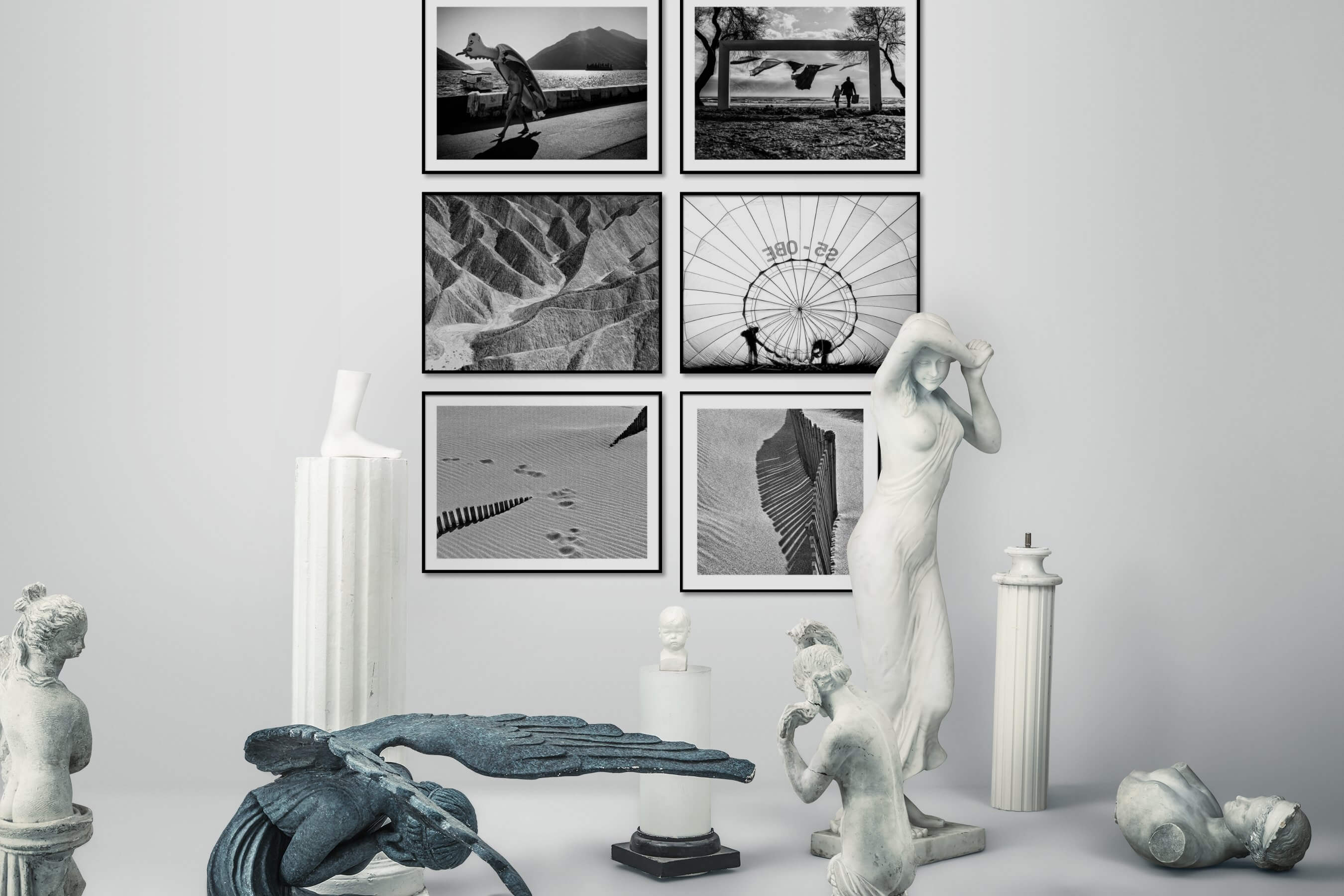 Gallery wall idea with six framed pictures arranged on a wall depicting Artsy, Black & White, Beach & Water, For the Moderate, Nature, and For the Minimalist