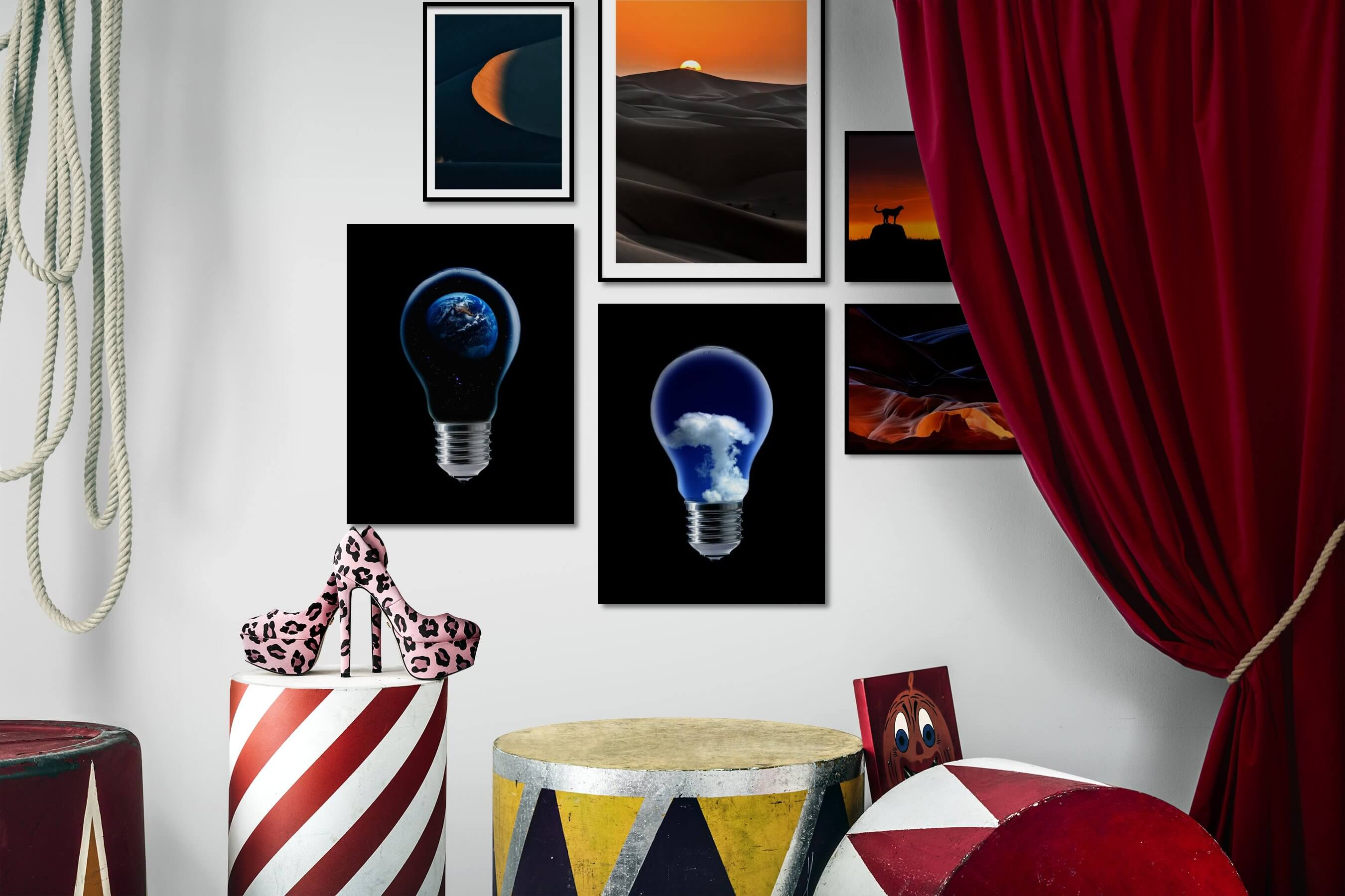 Gallery wall idea with six framed pictures arranged on a wall depicting For the Minimalist, Nature, For the Moderate, Dark Tones, and Animals