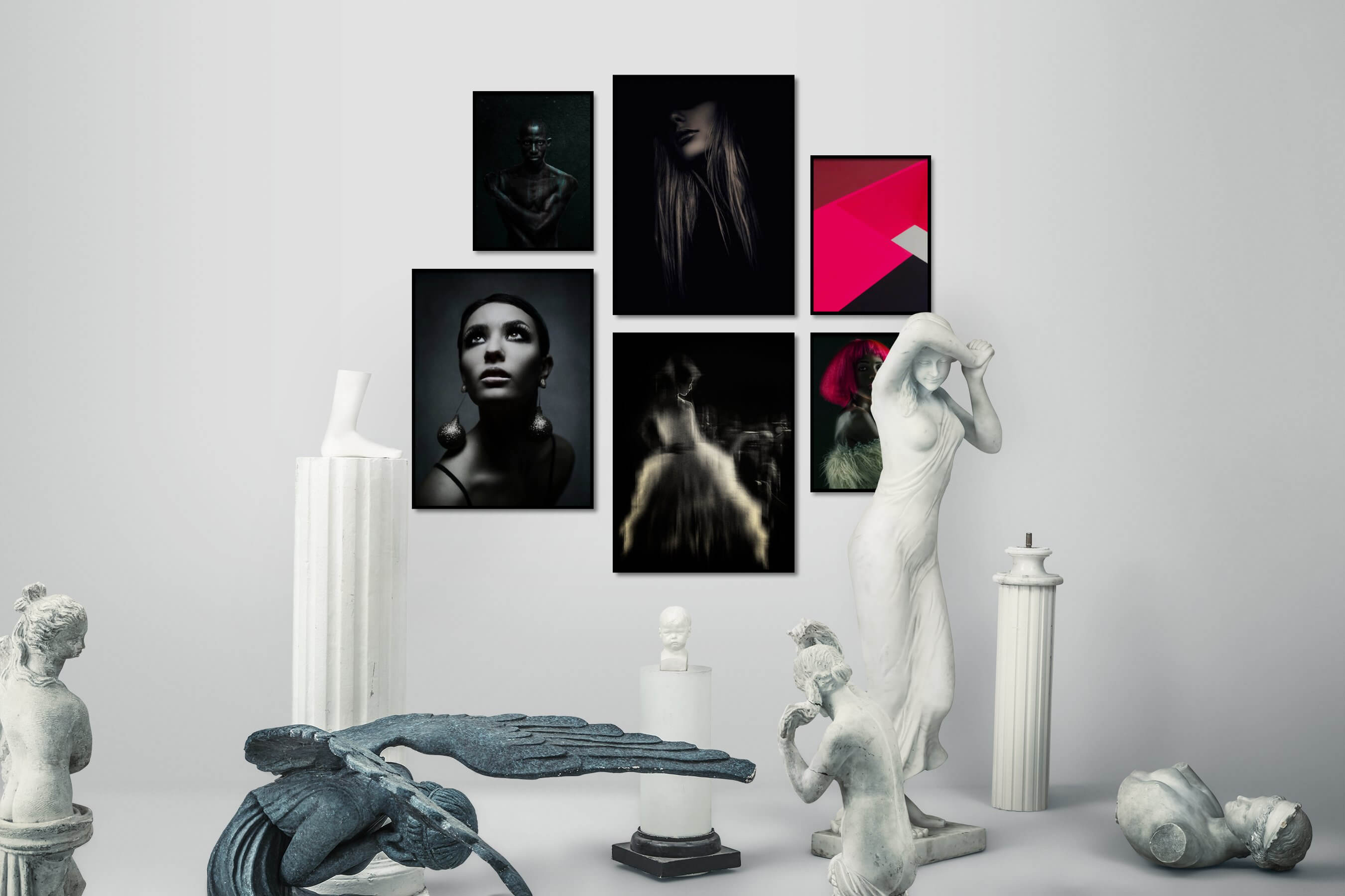Gallery wall idea with six framed pictures arranged on a wall depicting Fashion & Beauty, Black & White, Dark Tones, For the Minimalist, Colorful, and Vintage