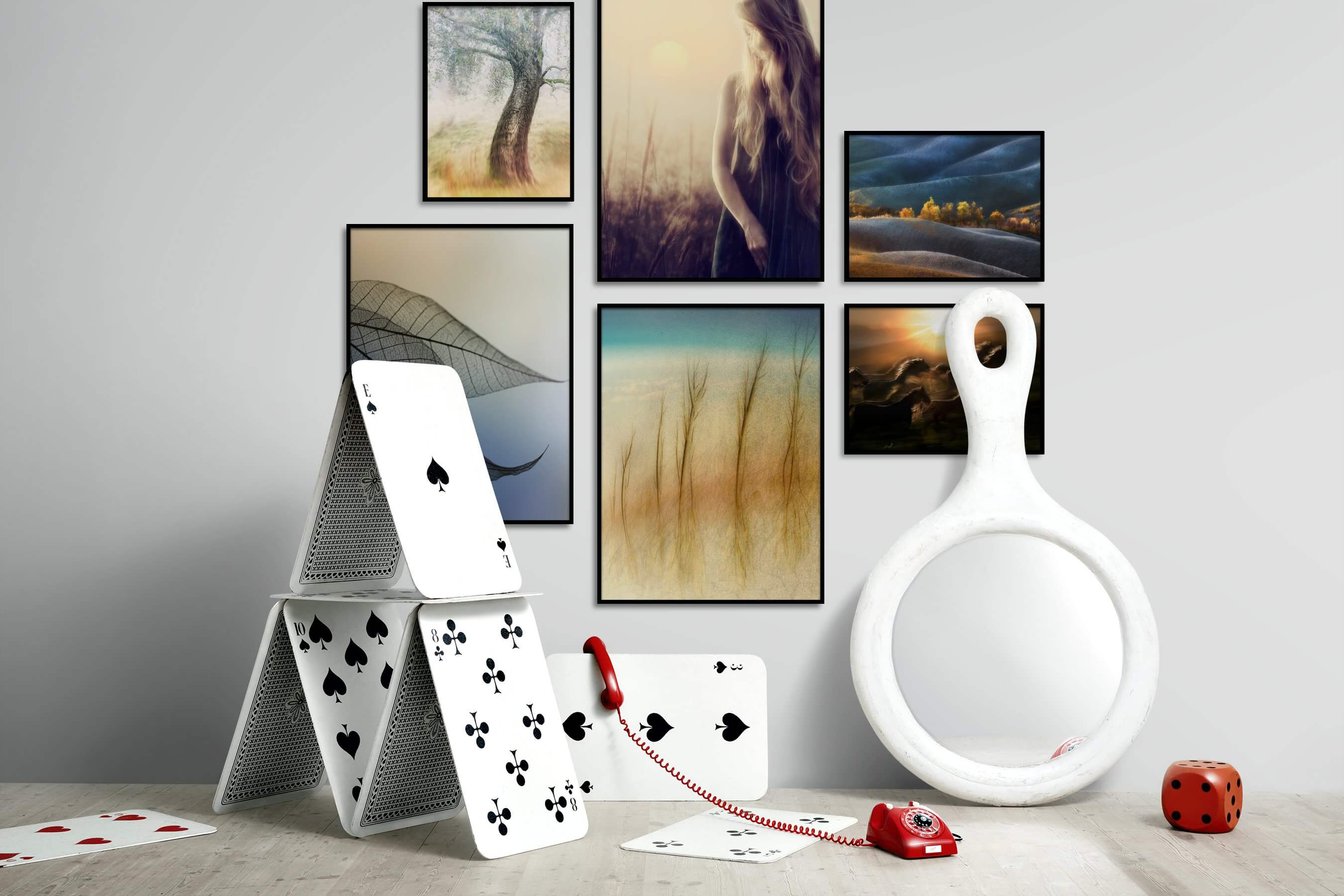 Gallery wall idea with six framed pictures arranged on a wall depicting Nature, Fashion & Beauty, For the Minimalist, Flowers & Plants, Mindfulness, For the Moderate, Country Life, and Animals
